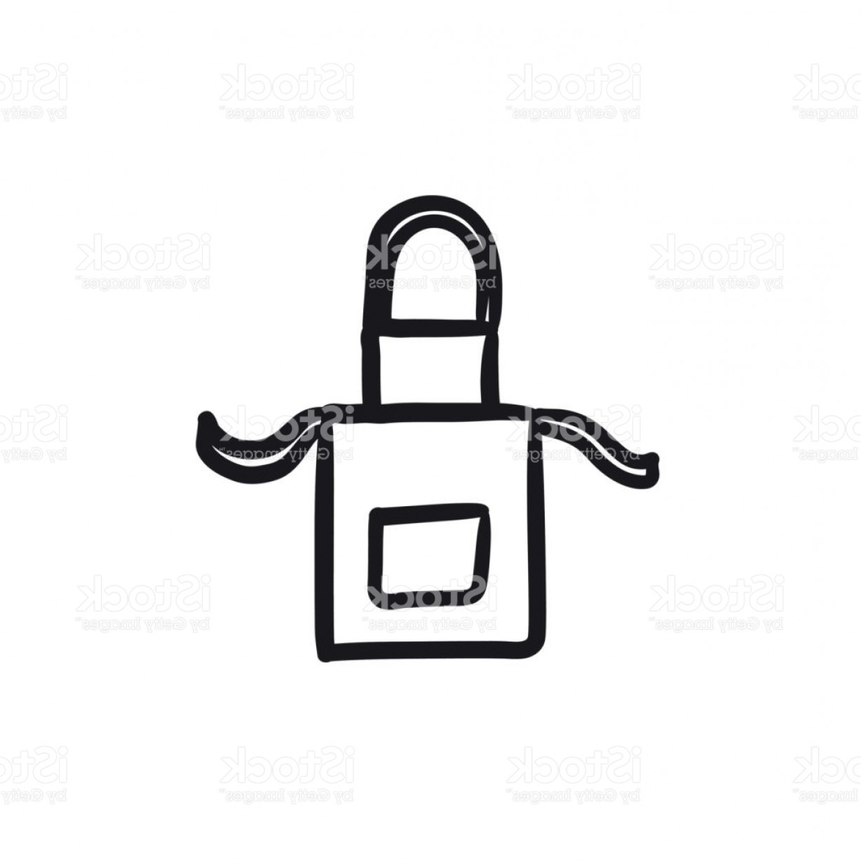 Apron Vector: Kitchen Apron Sketch Icon Gm