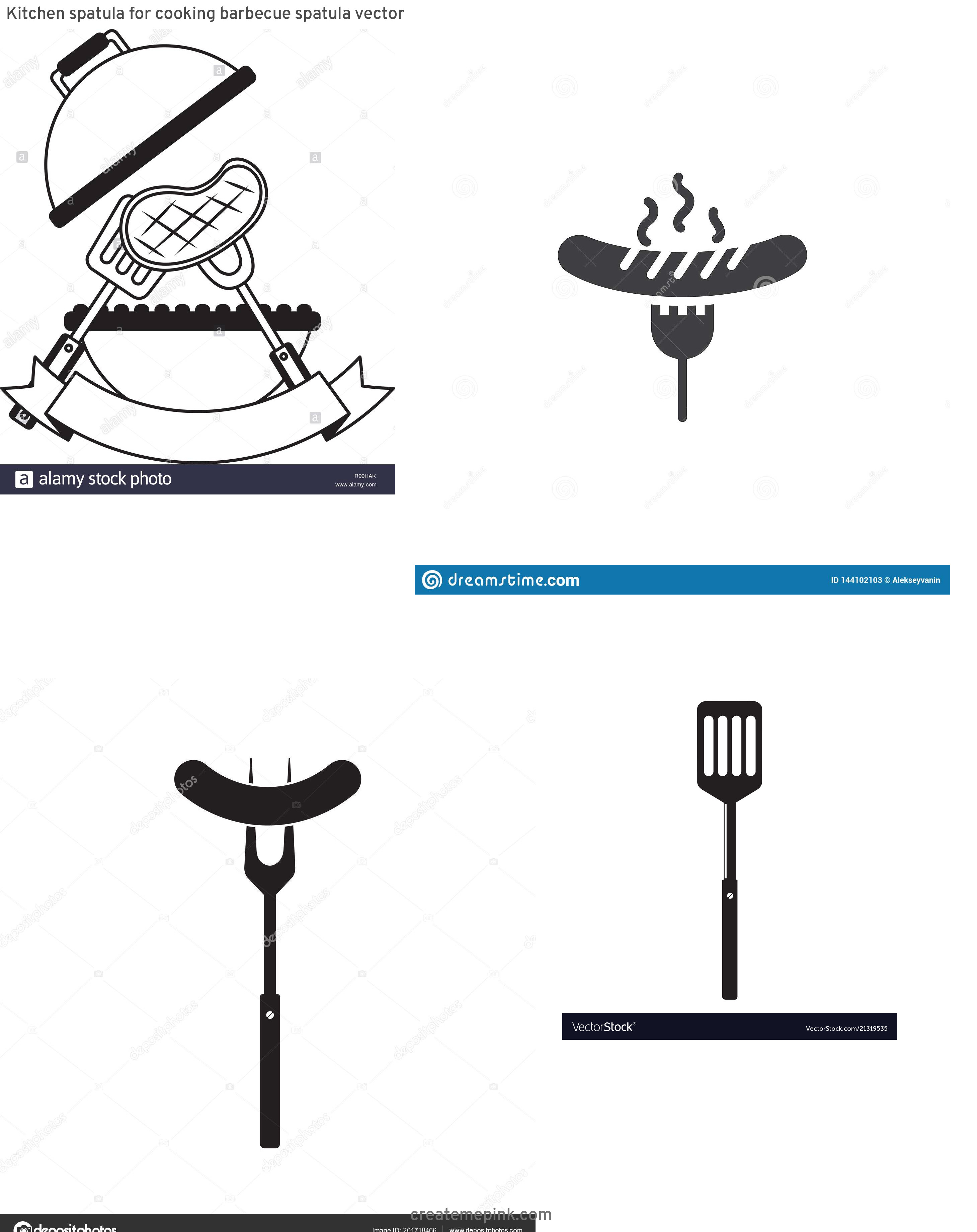 BBQ Fork Vector: Kitchen Spatula For Cooking Barbecue Spatula Vector