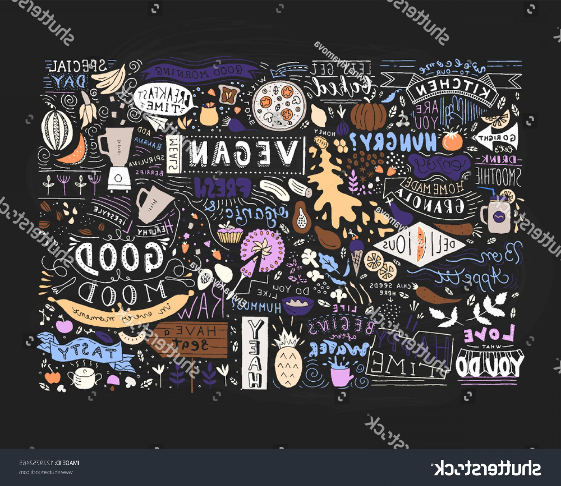 Wall Art Vector Graphics For The Home: Kitchen Wall Art Vegan Restaurant Cafe