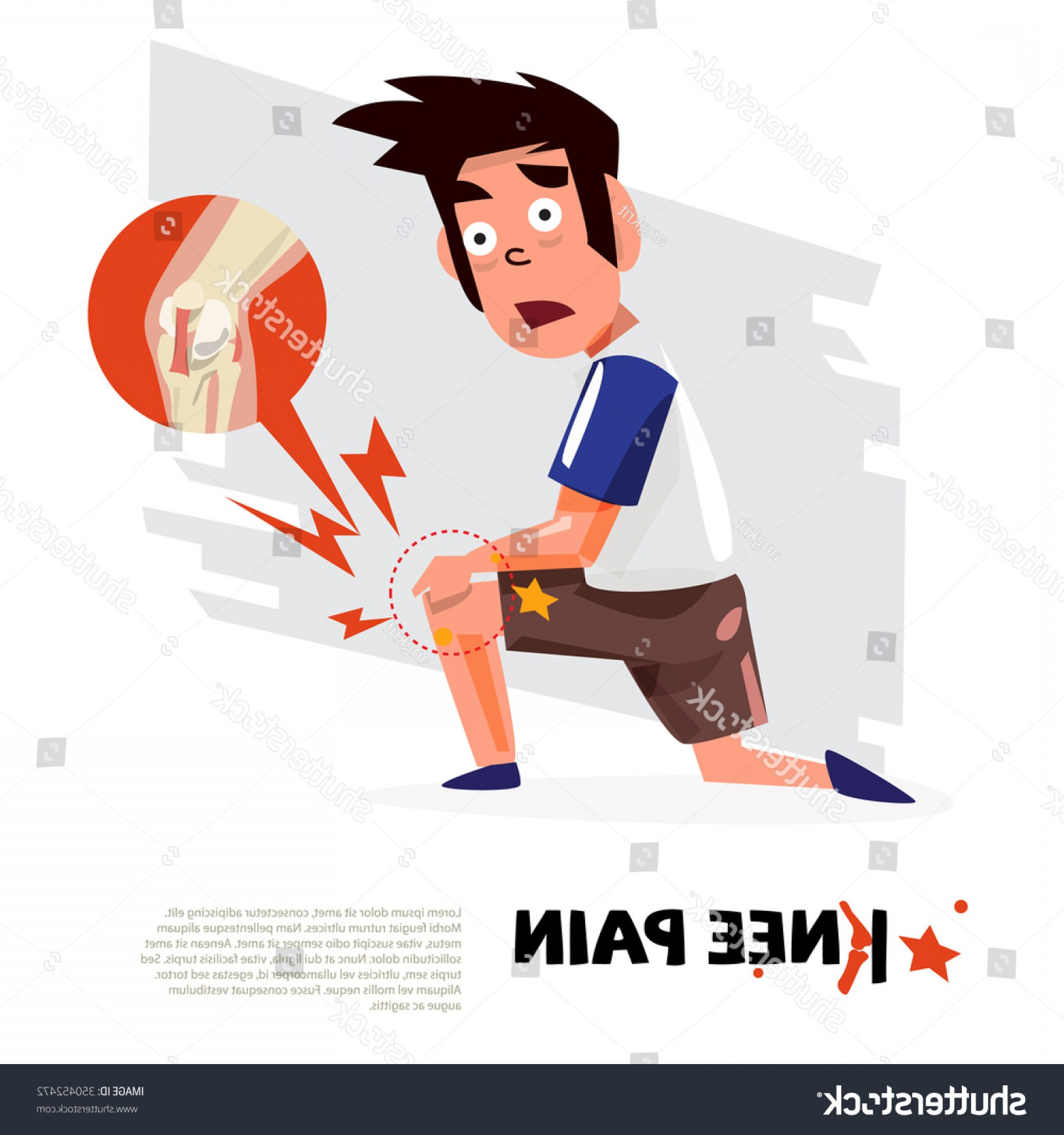 Knee Board Vector: Knee Pain Character Design Icon Vector