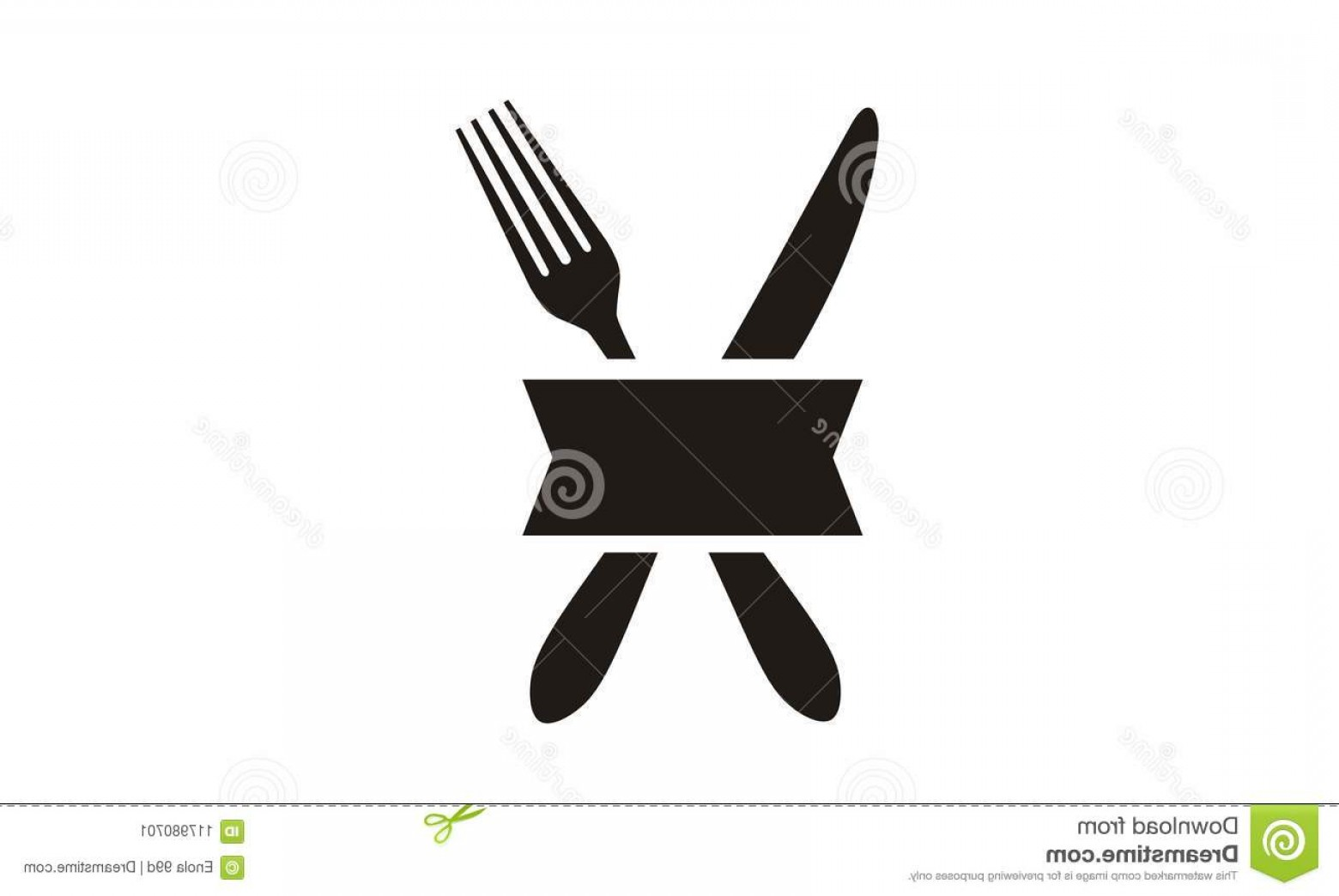 Modern Knife Fork And Spoon Vector Logo: Knife Fork Ribbon Restaurant Logo Design Inspiration Modern Simple Easy To Recognize Right Your Company Image