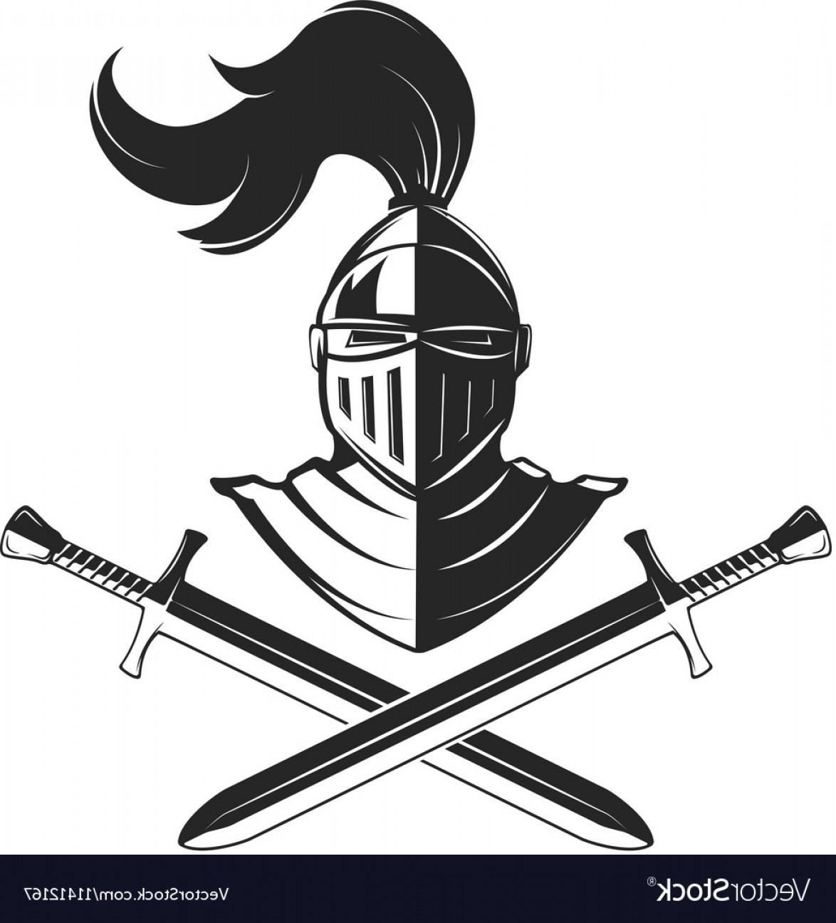 Templar Knight Helmet Vector: Knight Helmet With Two Swords Isolated On White Vector