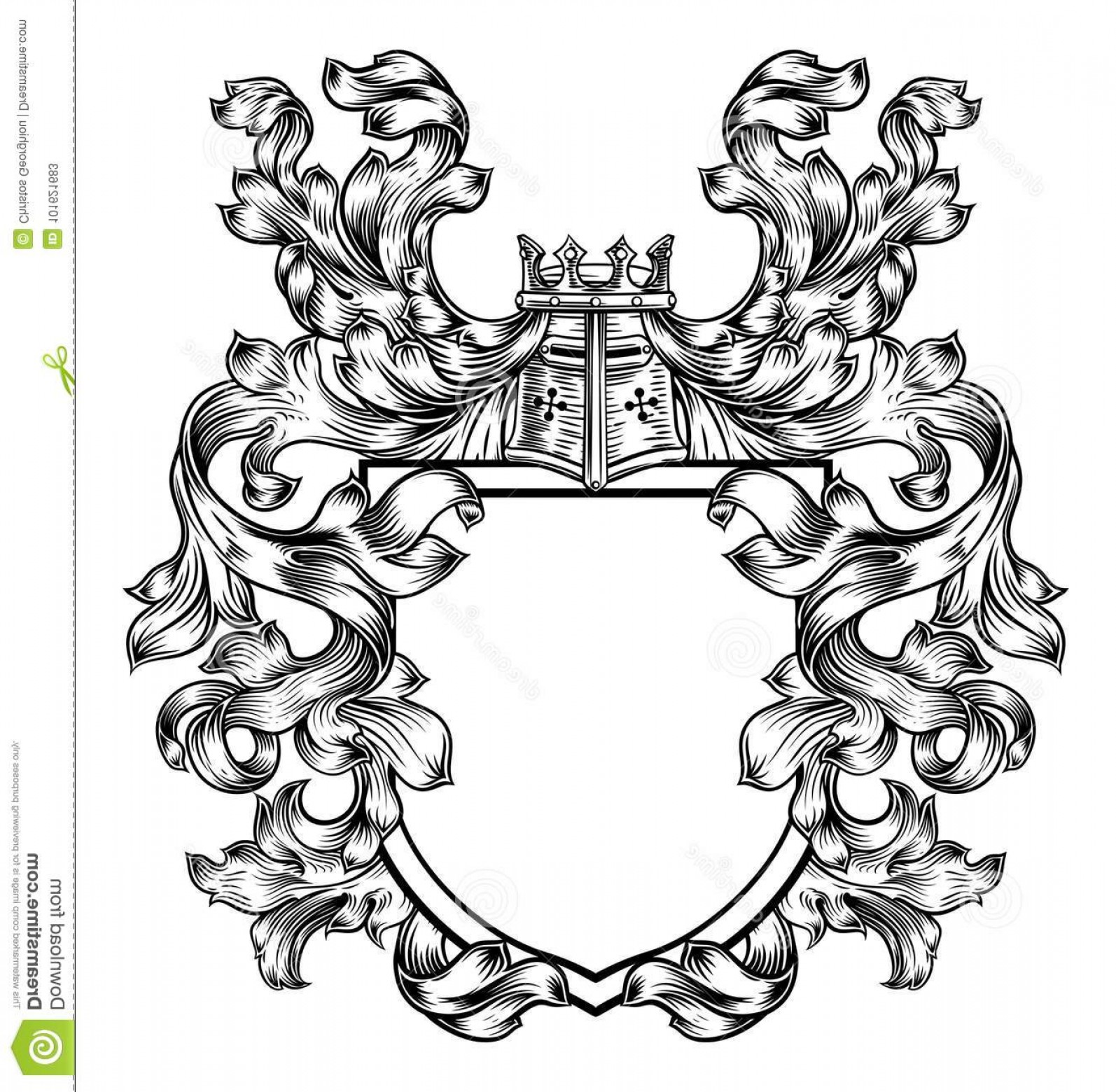 Crest And Coat Of Arms Vector Silhouette: Knight Heraldic Crest Coat Arms Shield Emblem Medieval Featuring Knights Great Helm Helmet Filigree Leaf Design Image
