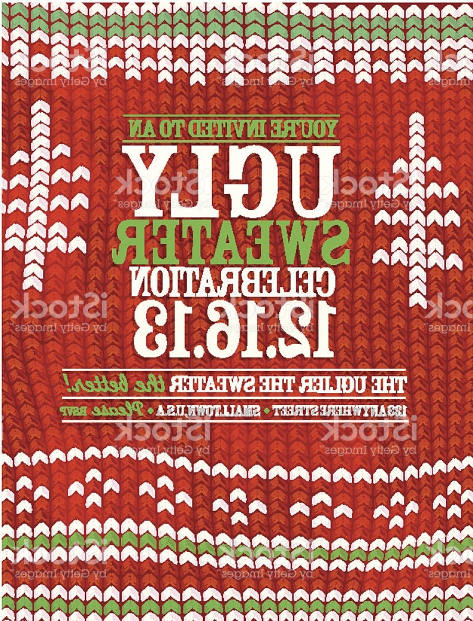 Christmas Sweater Design Vector: Knit Pattern Ugly Sweater Holiday Party Celebration Invitation Design Template Gm
