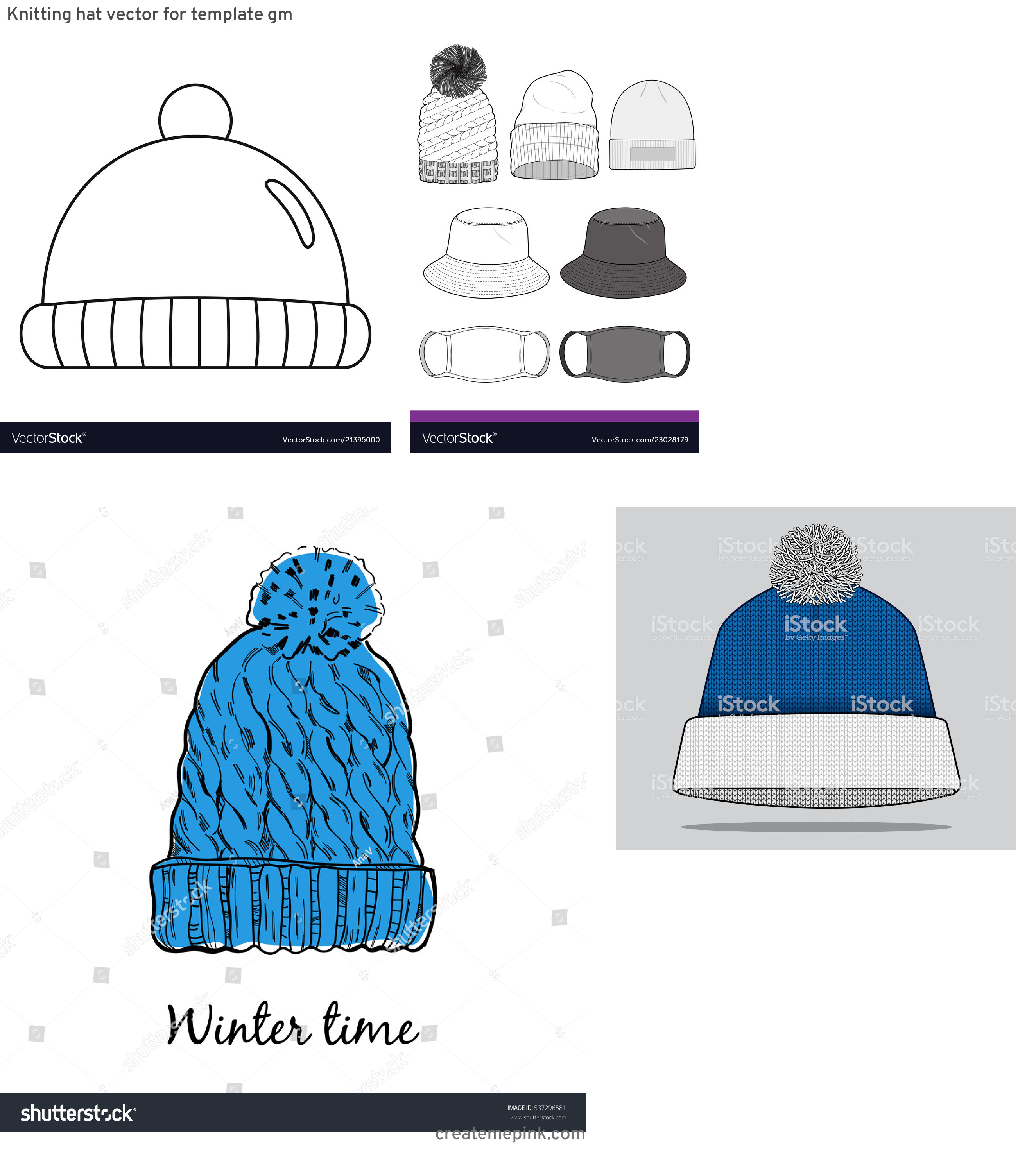 Winter Hat Vectors Templates: Knitting Hat Vector For Template Gm