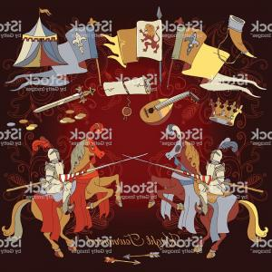 1950 Vector Frame: Knight Tournament Medieval Frame Knight On Horse Gm