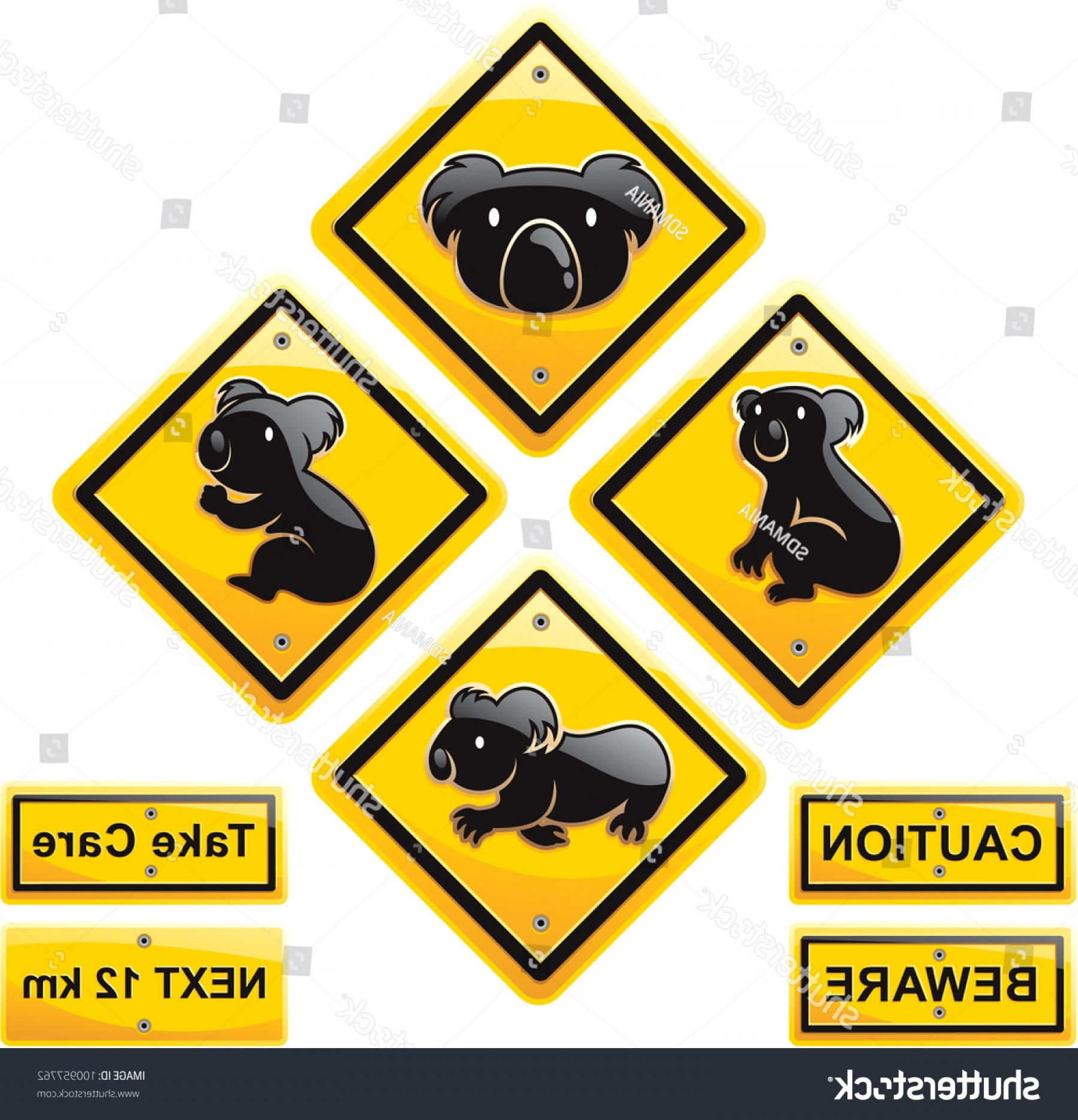Road Sign Silhouette Vector Bear: Koala Traffic Sign High Quality Vector