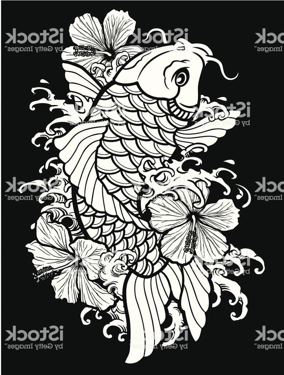 Black And White Koi Vector: Koi And Hibiscus On Black Gm
