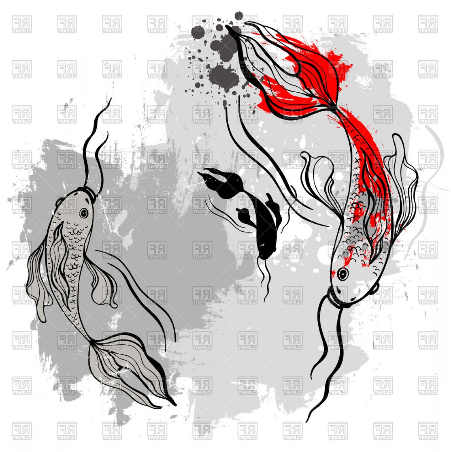 Koi Vector: Koi Fishes In Japanese Style Vector Clipart