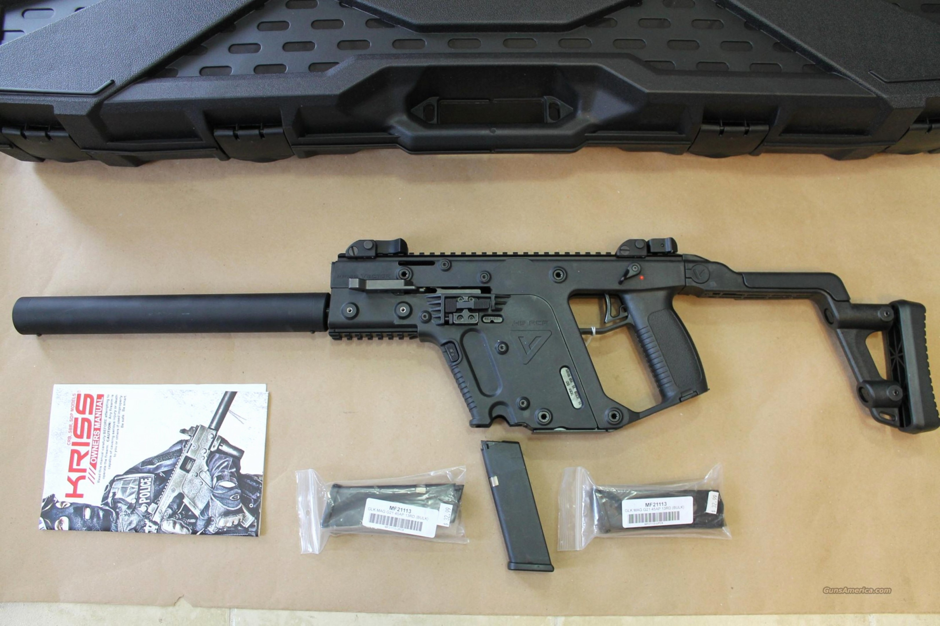 Kriss Vector 45ACP Carbine: Kriss Vector Stock Lovely Nib Kriss Vector Crb Super V Acp Auto Mags Hard Cas