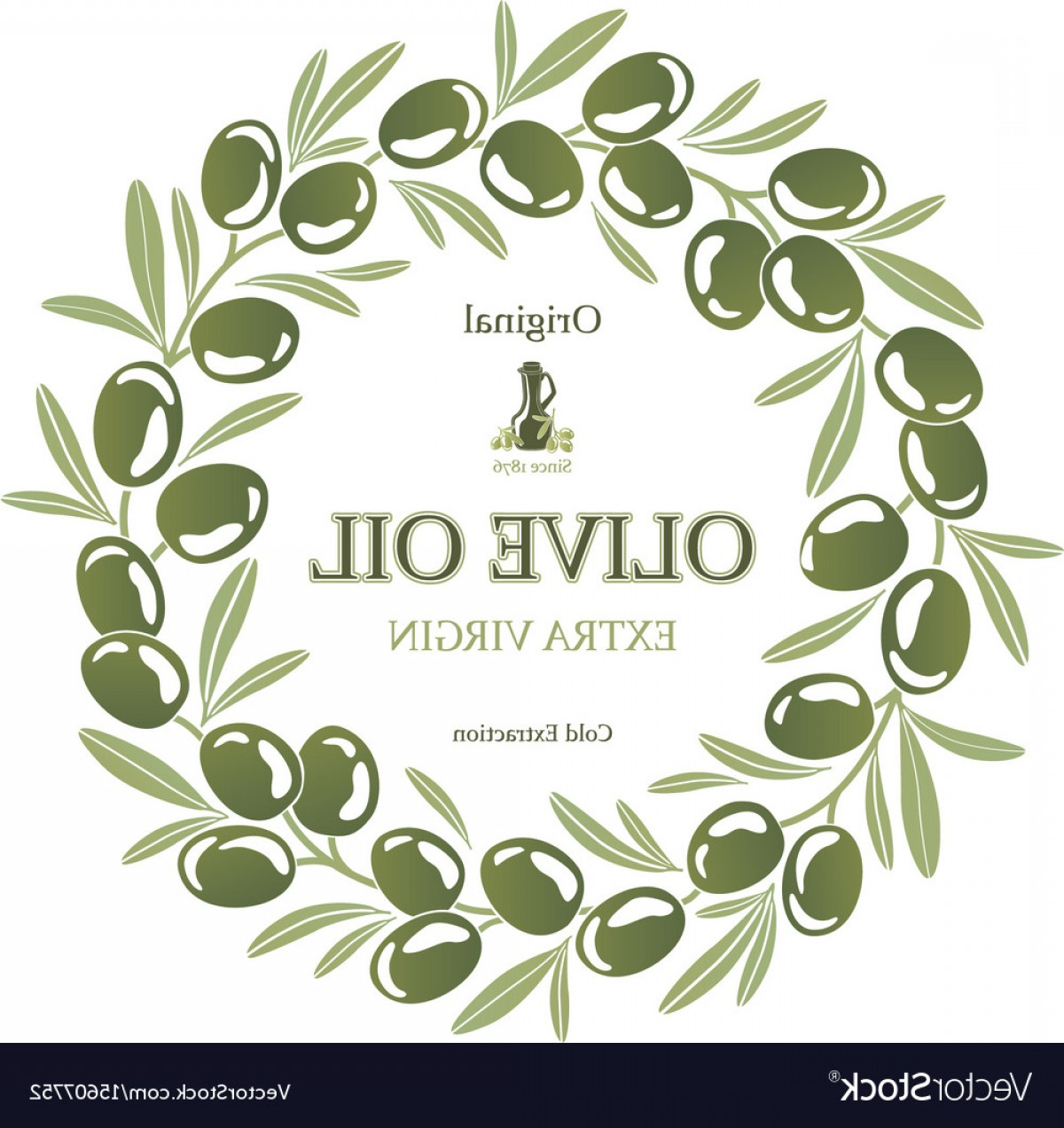 Olive Vector: Label For Olive Oil Wreath Of Green Olives Vector