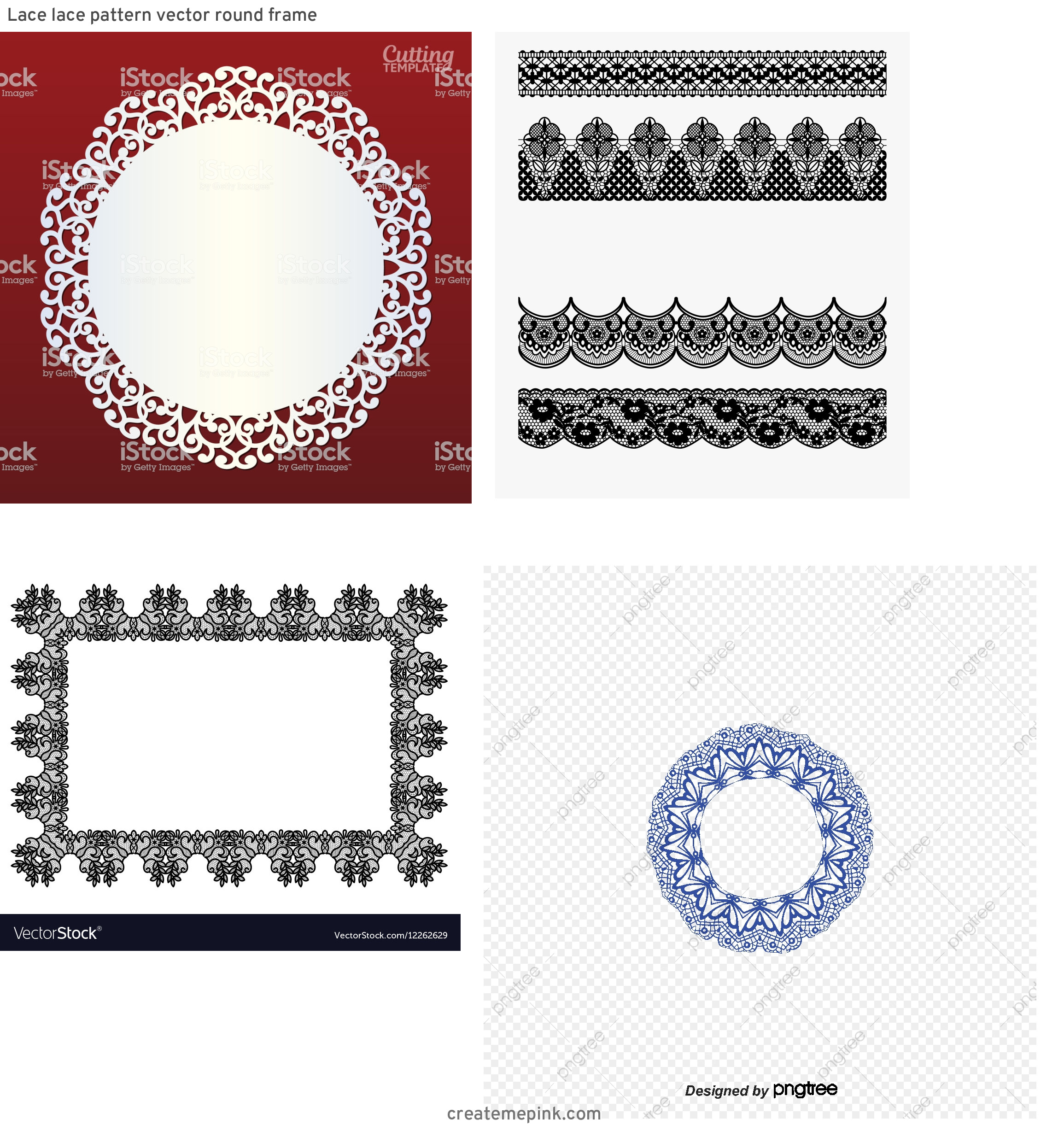 Simple Lace Frame Vector: Lace Lace Pattern Vector Round Frame