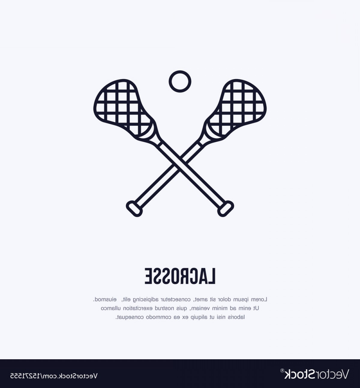 Lacrosse Stick Vector: Lacrosse Line Icon Ball And Sticks Logo Vector