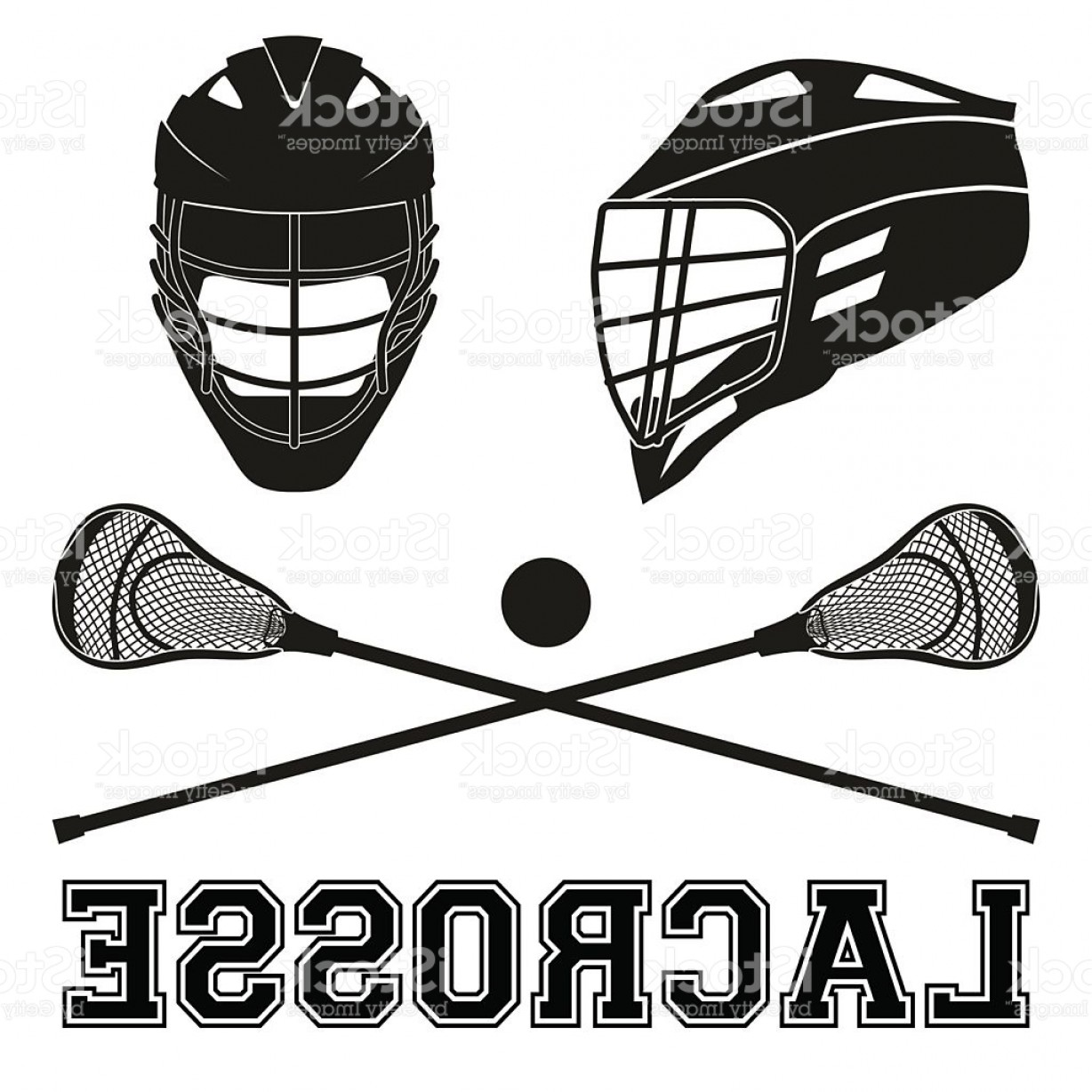 Lacrosse Stick Vector: Lacrosse Sticks And Helmets Flat Style Gm