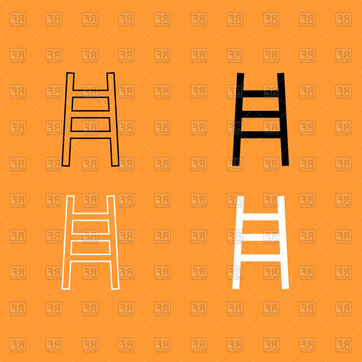 Ladder Silhouette Vector: Ladder Silhouette And Outline Vector Clipart