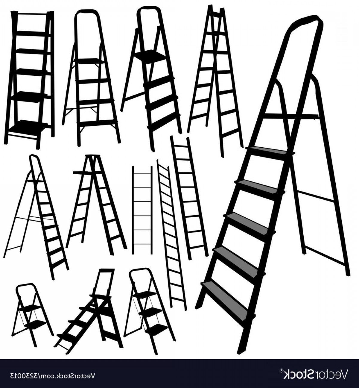 Ladder Silhouette Vector: Ladder Silhouette In Black Color Vector