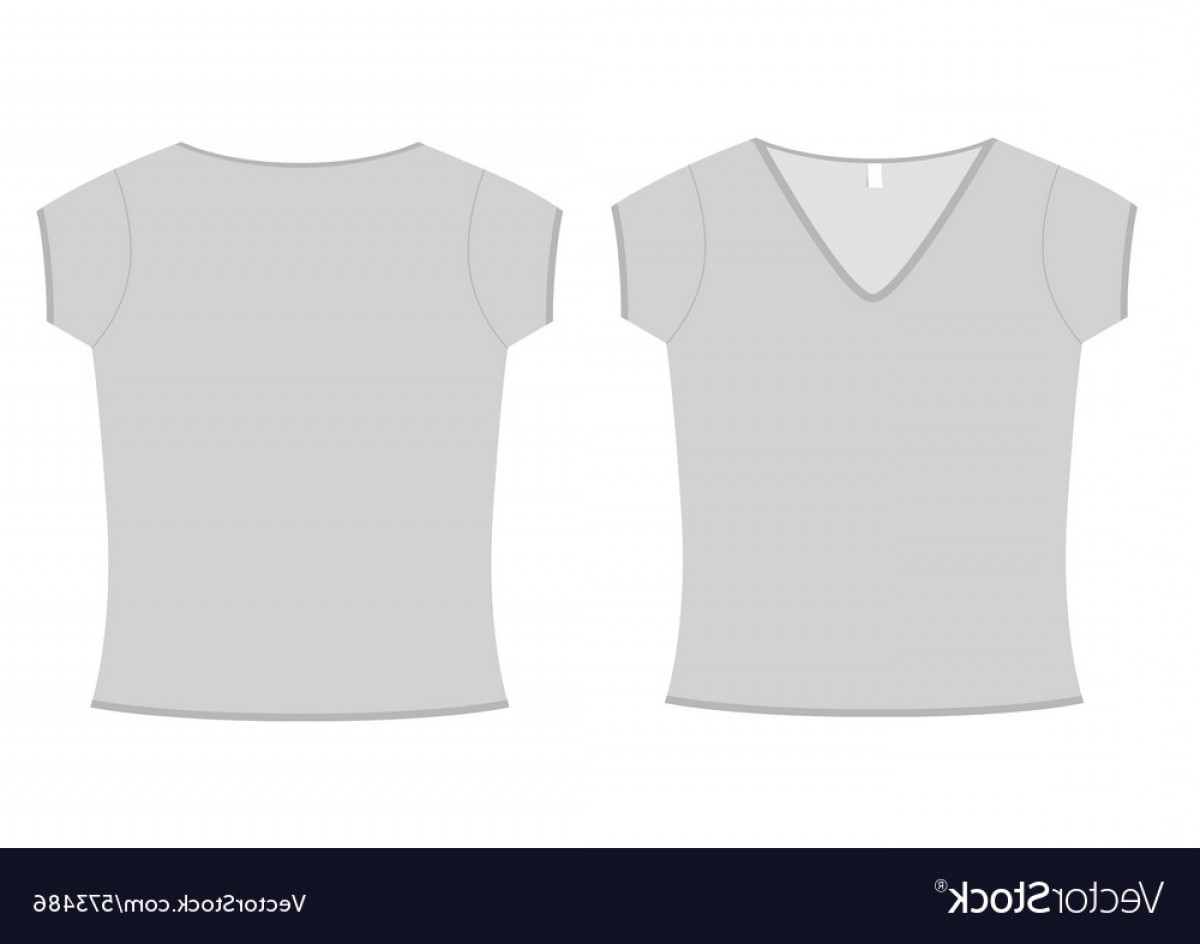 V-Neck Template Vector: Ladies Vneck Tshirt Template Vector