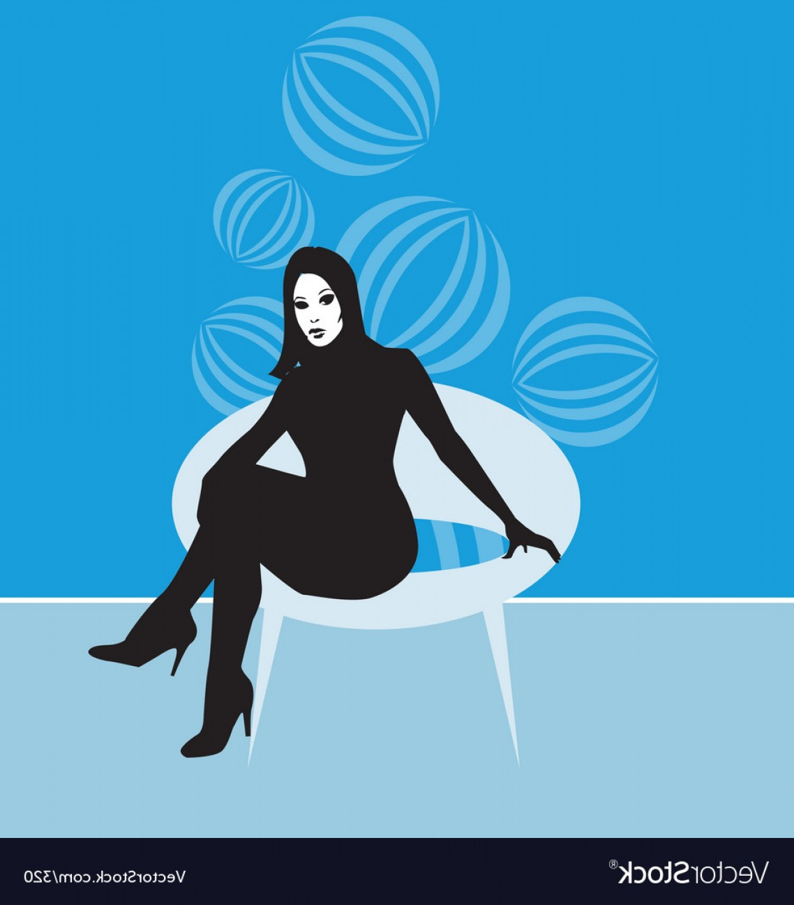 320 Vector: Lady On Retro Chair Vector