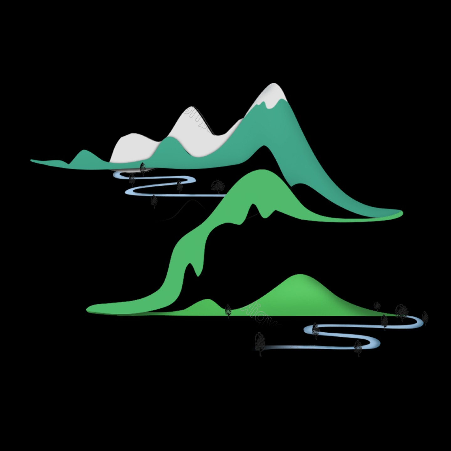 Vector Group Of Hands Overlapped: Landscape Pastoral Scenery Origami Overlapping Mountain Peaks Creekbub