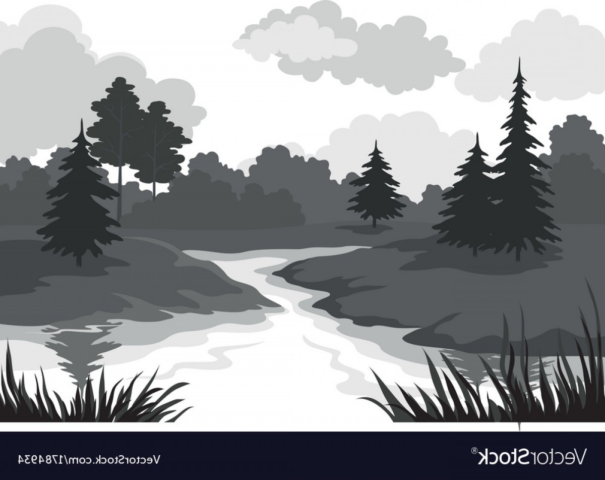 River Silhouette Vector Art: Landscape Trees And River Silhouette Vector