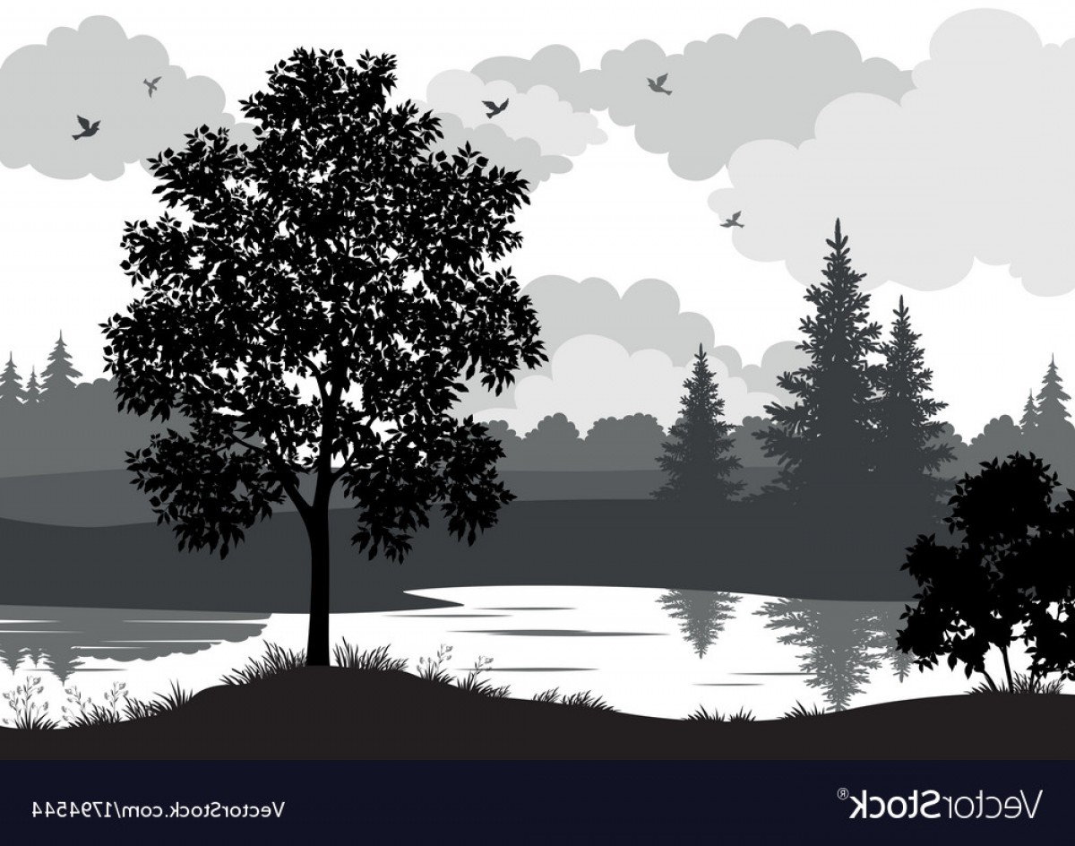 River Silhouette Vector Art: Landscape Trees River And Birds Silhouette Vector