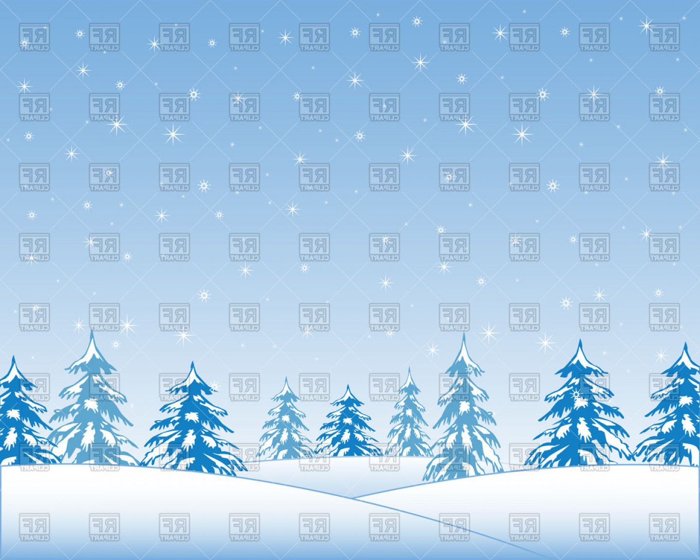 Free Winter Vector: Landscape With Winter Wood And Snow Vector Clipart