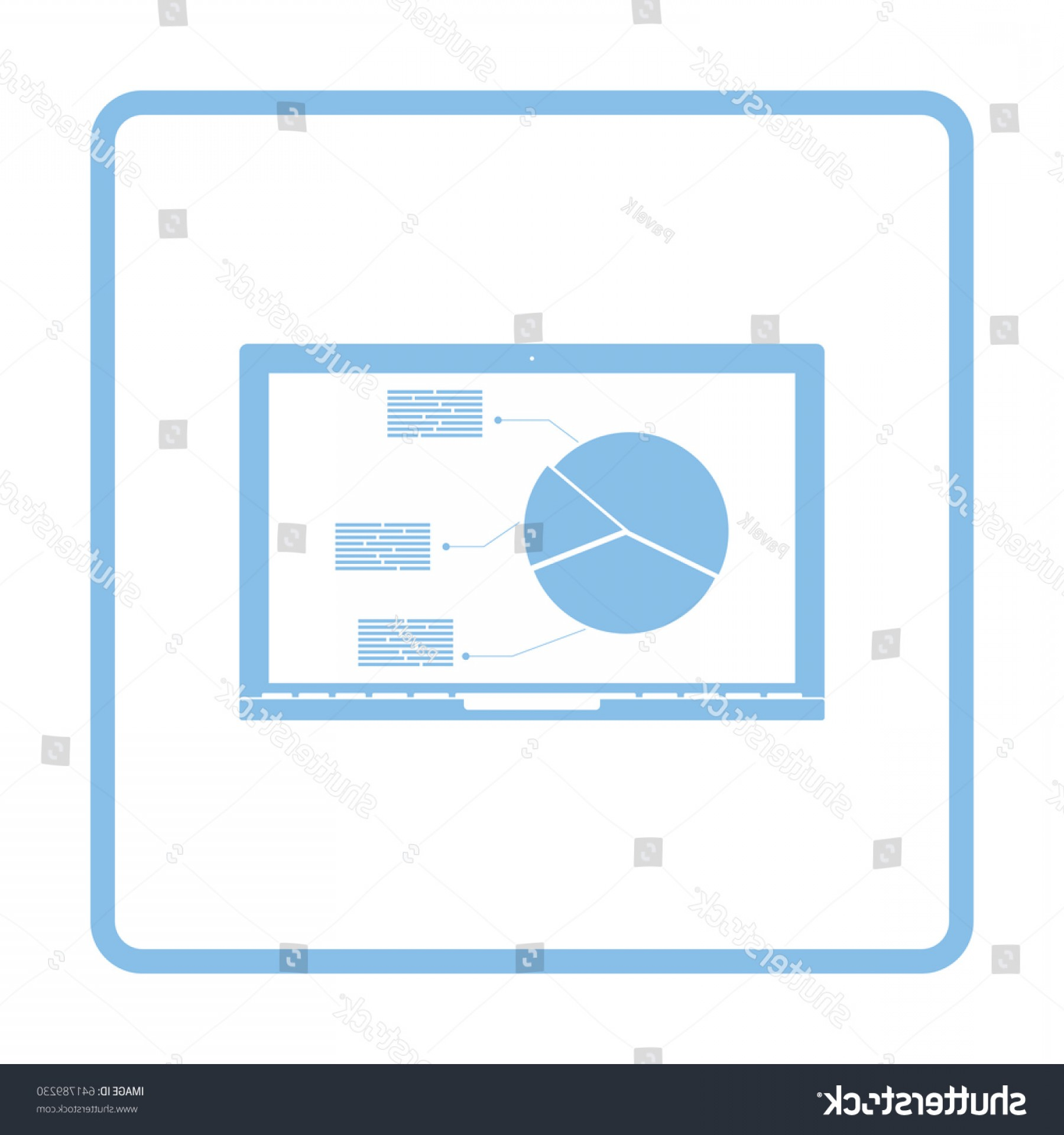 Laptop Vector Frame: Laptop Analytics Diagram Icon Blue Frame