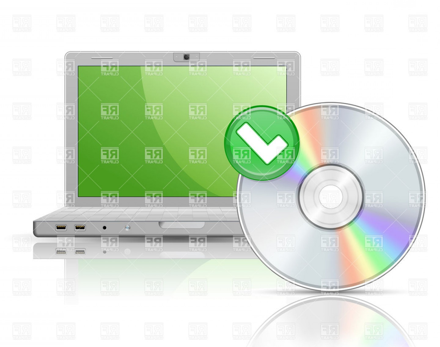 Free Vector File Software: Laptop And Software Disk With Reflections Vector Clipart