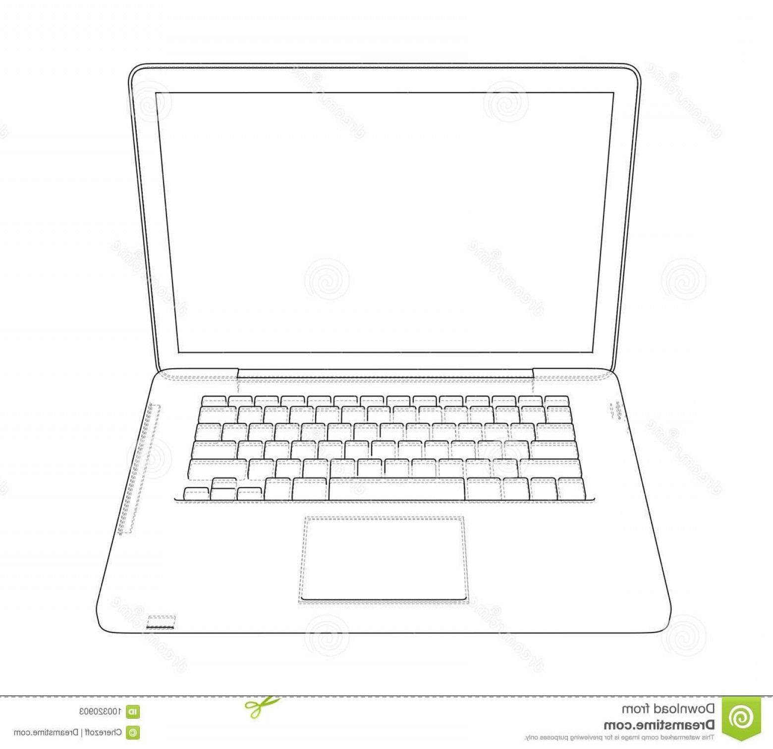 Laptop Vector Frame: Laptop Sketch Vector Rendering D Wire Frame Style Layers Visible Invisible Lines Separated Laptop Sketch Vector Image