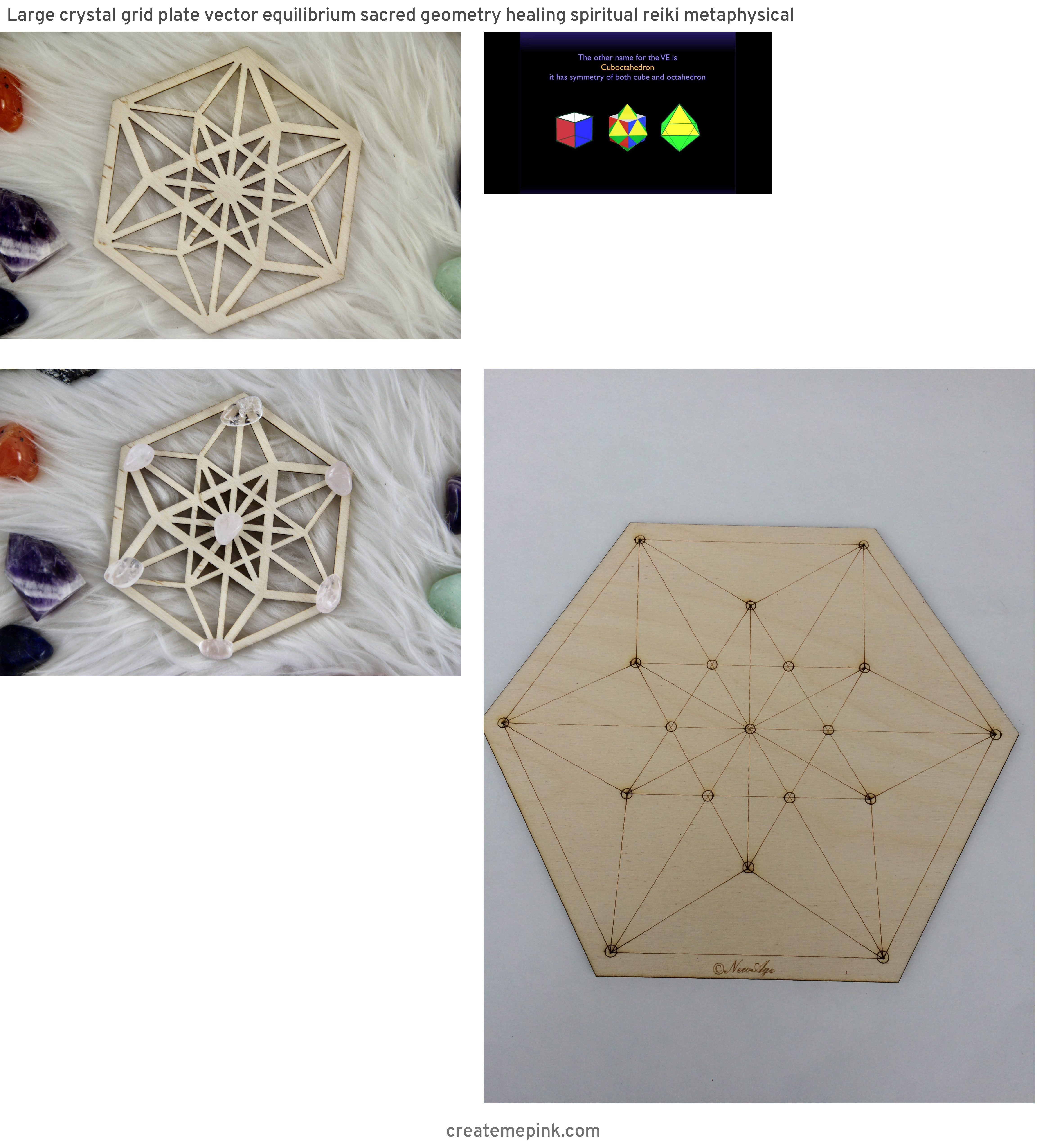 Vector Equilibrium Crystal: Large Crystal Grid Plate Vector Equilibrium Sacred Geometry Healing Spiritual Reiki Metaphysical