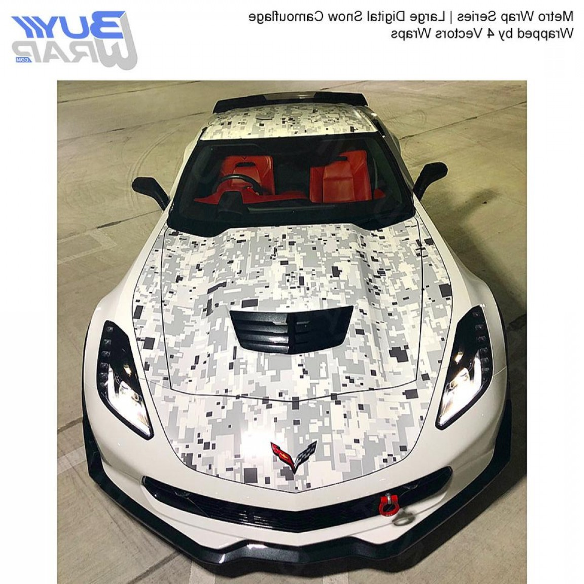 Vector Car Wrapped: Large Digital Snow Camouflage Vinyl Wrap Film