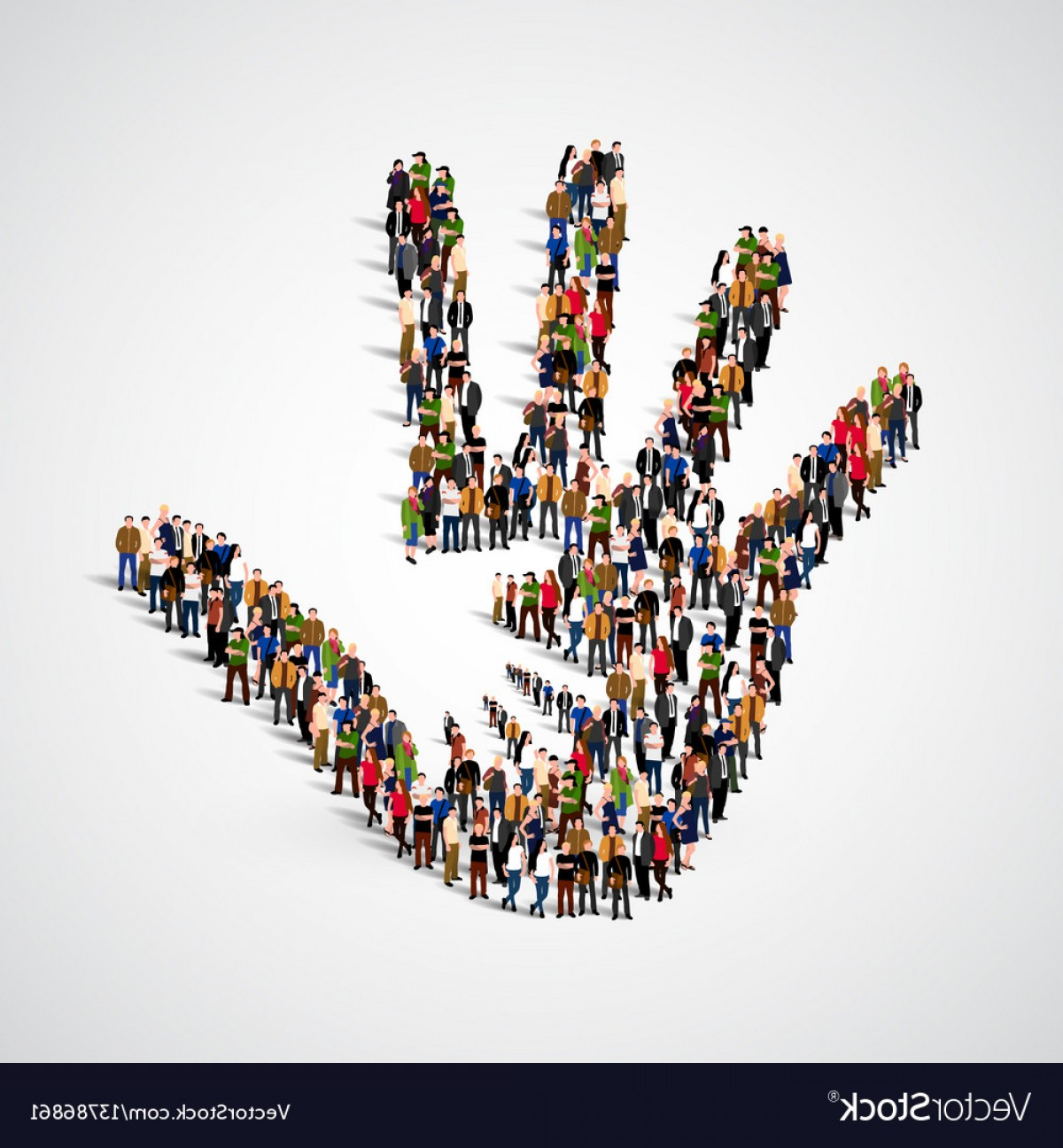 Expanding Population Icon Vector: Large Group Of People In Form Of Helping Hand Icon Vector