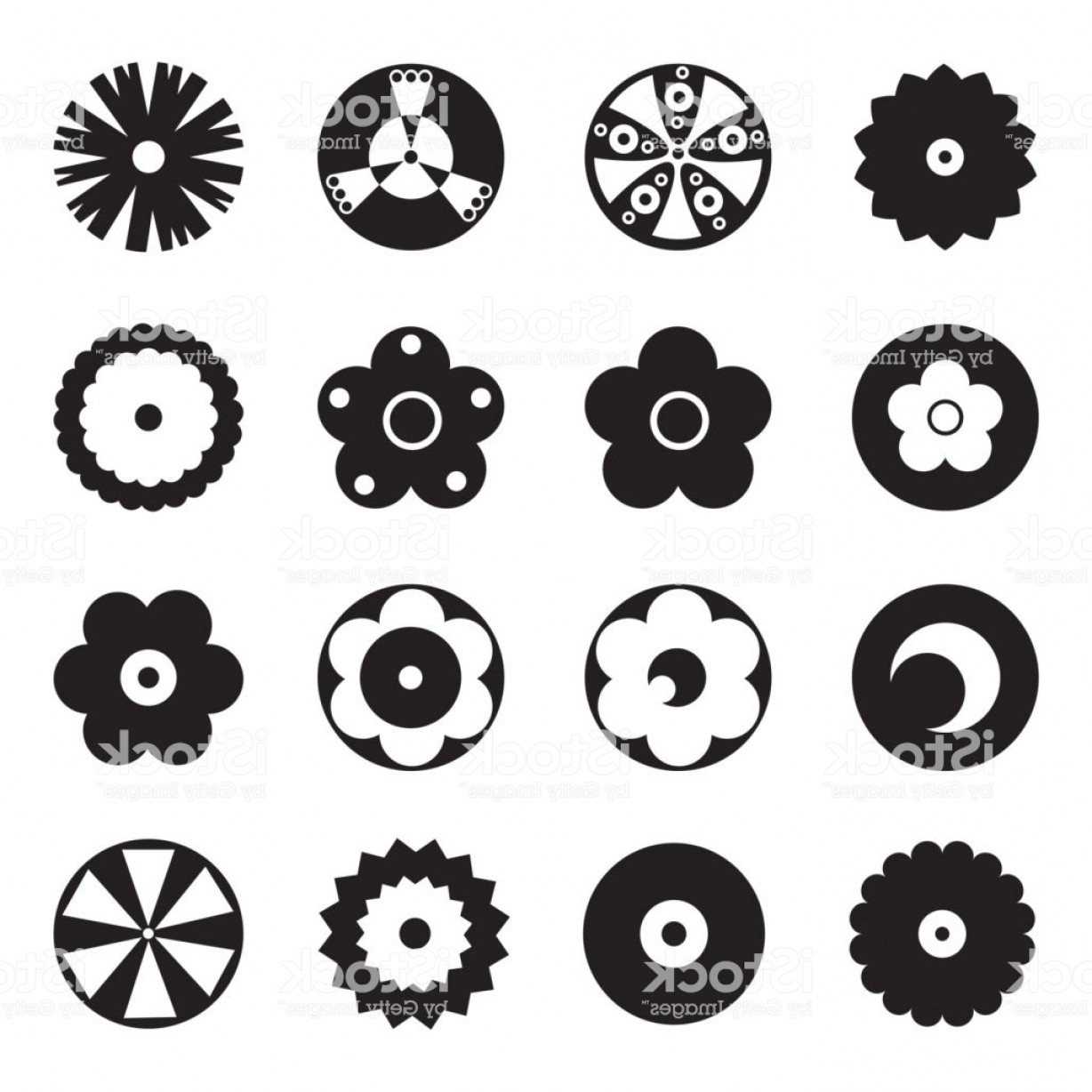 Gear Vector Icons Large: Large Set Of Flat Icon Flower Icons Silhouette Isolated Pretty Retro Design For Gm