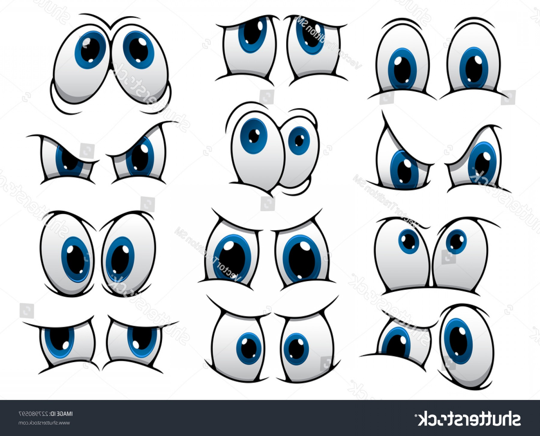 Green Cartoon Eyes Vector Png: Large Set People Cartoon Eyes Depicting