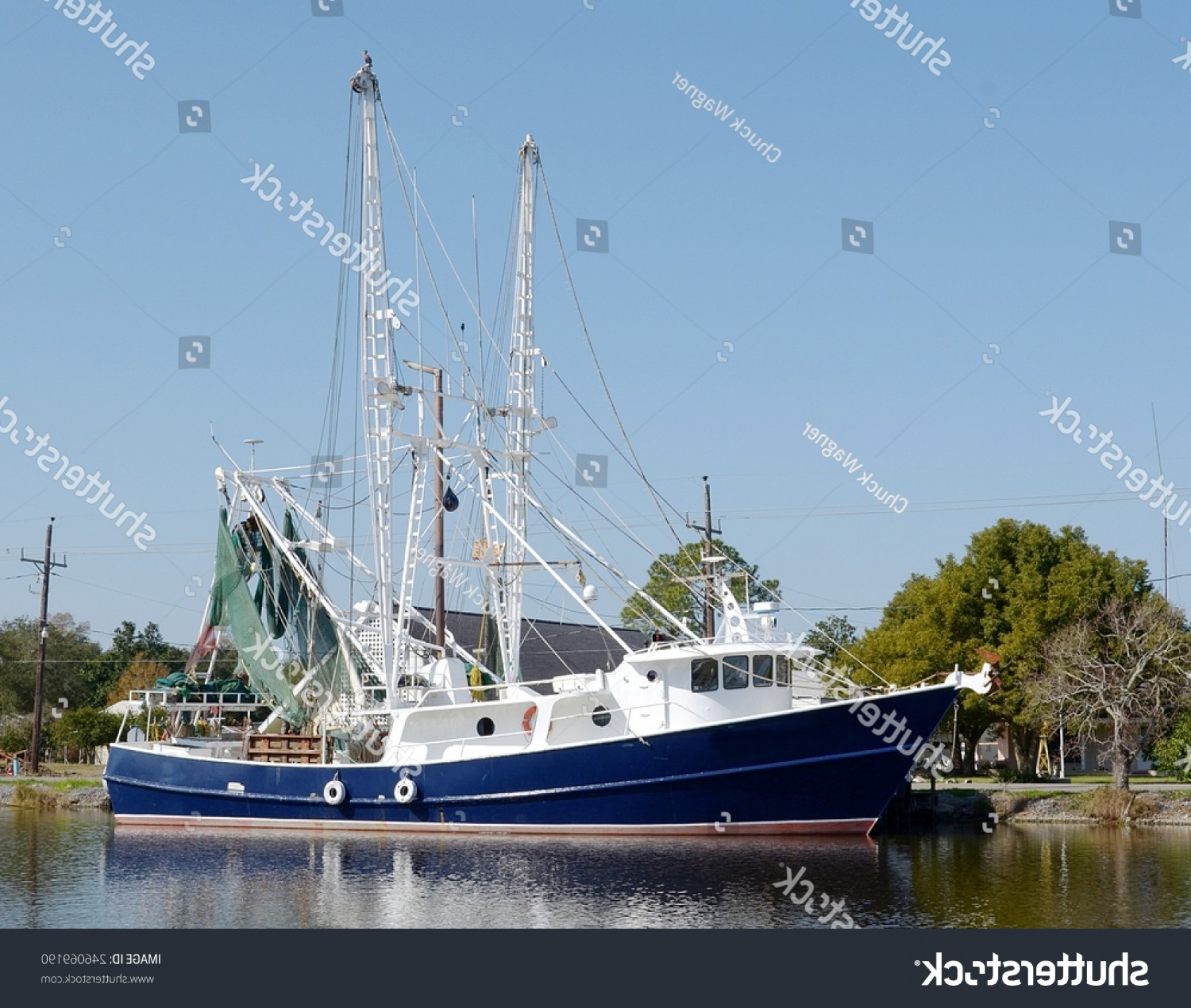 Vector Art Shrimper: Large Steel Shrimp Trawler Boat Dock