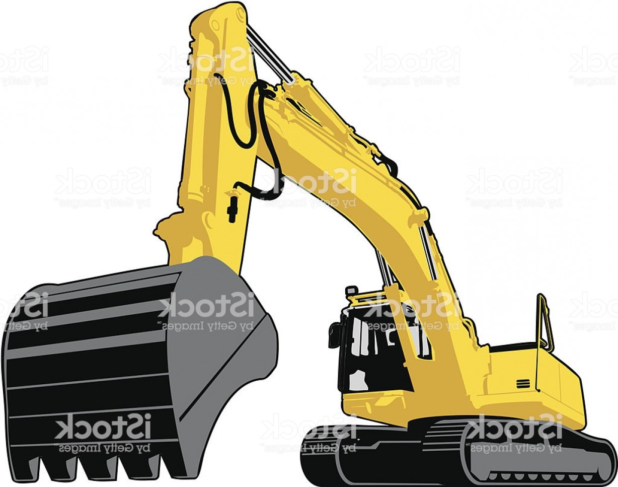 Caterpillar Trackhoe Bulldozer Vector: Large Yellow Excavator With Continuous Track Mobility Gm