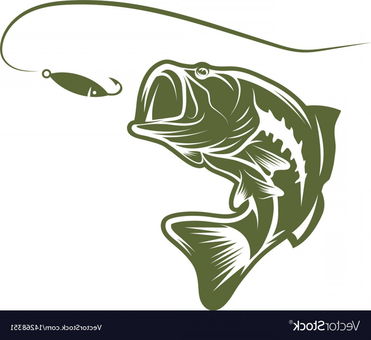 Largemouth Bass Silhouette Vector: Largemouth Bass And Lure Design Template Vector