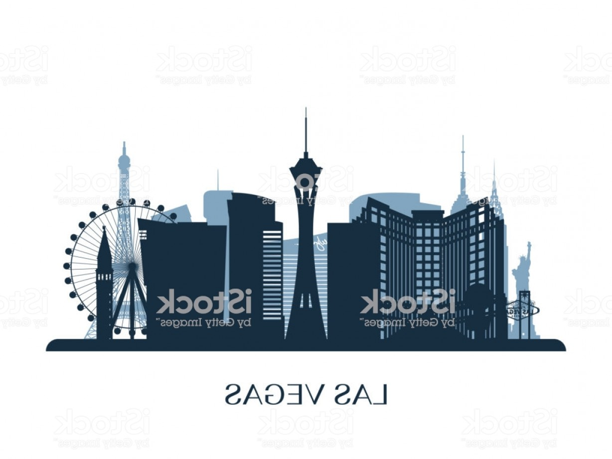 Wicked Boston Skyline Silhouette Vector: Las Vegas Skyline Monochrome Silhouette Vector Illustration Gm