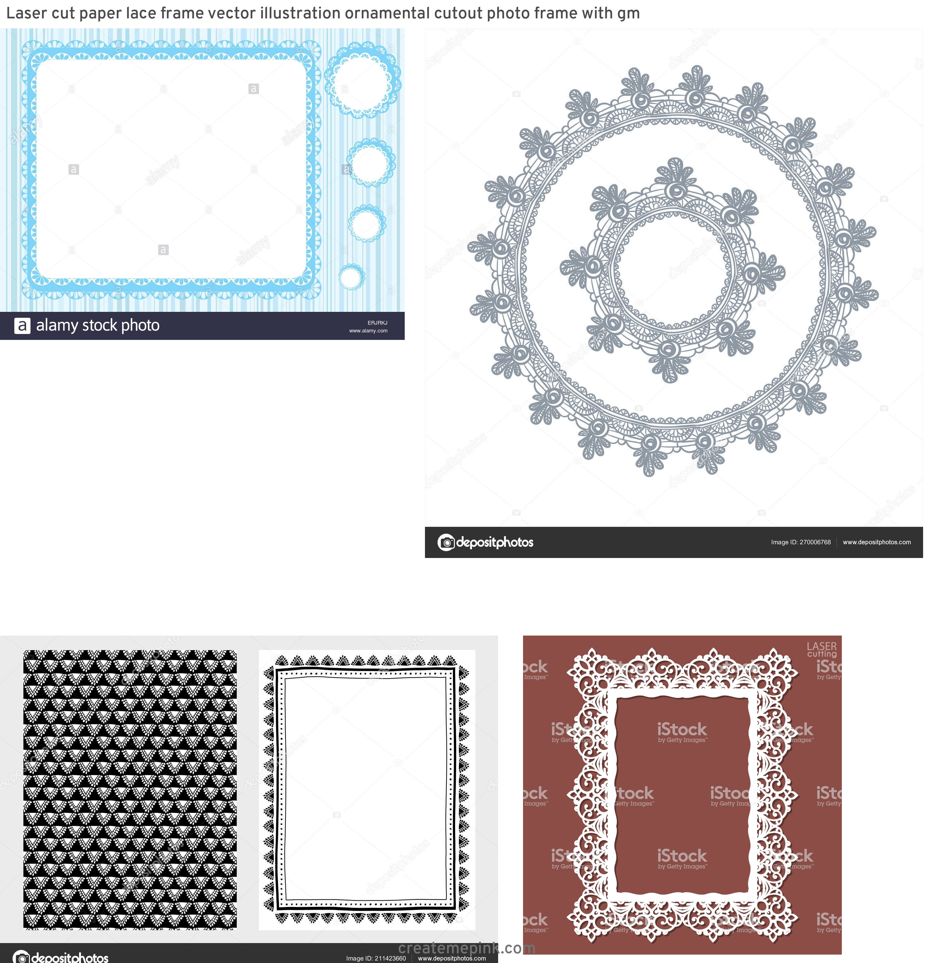 Simple Lace Frame Vector: Laser Cut Paper Lace Frame Vector Illustration Ornamental Cutout Photo Frame With Gm