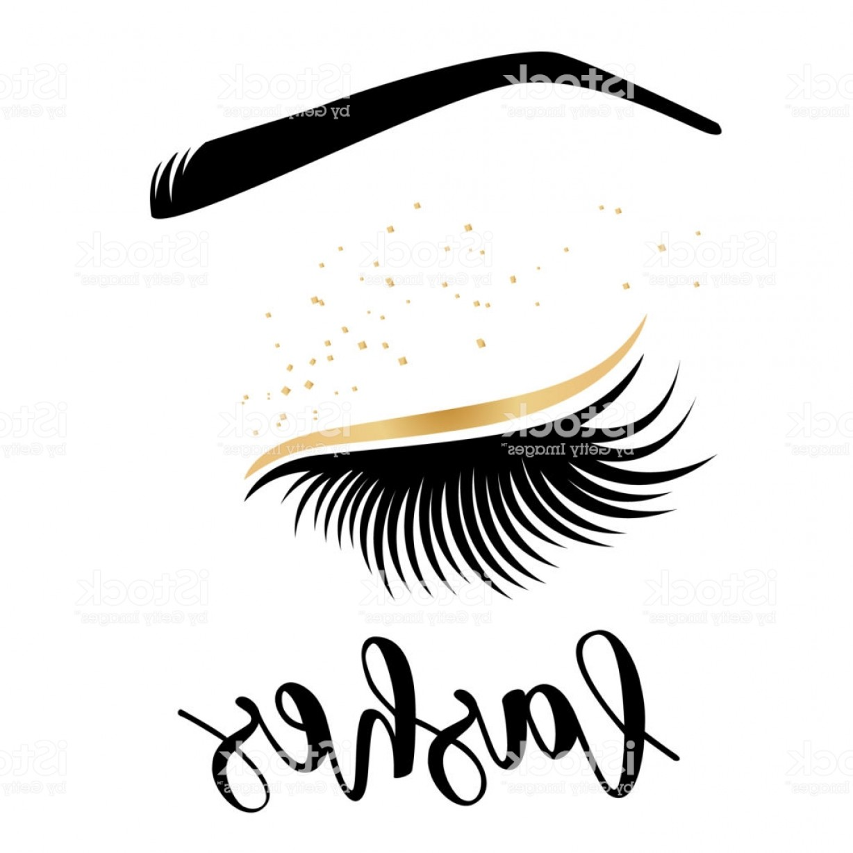 Top Eye Lashes Vector: Lashes Lettering Vector Illustration Of Lashes Gm
