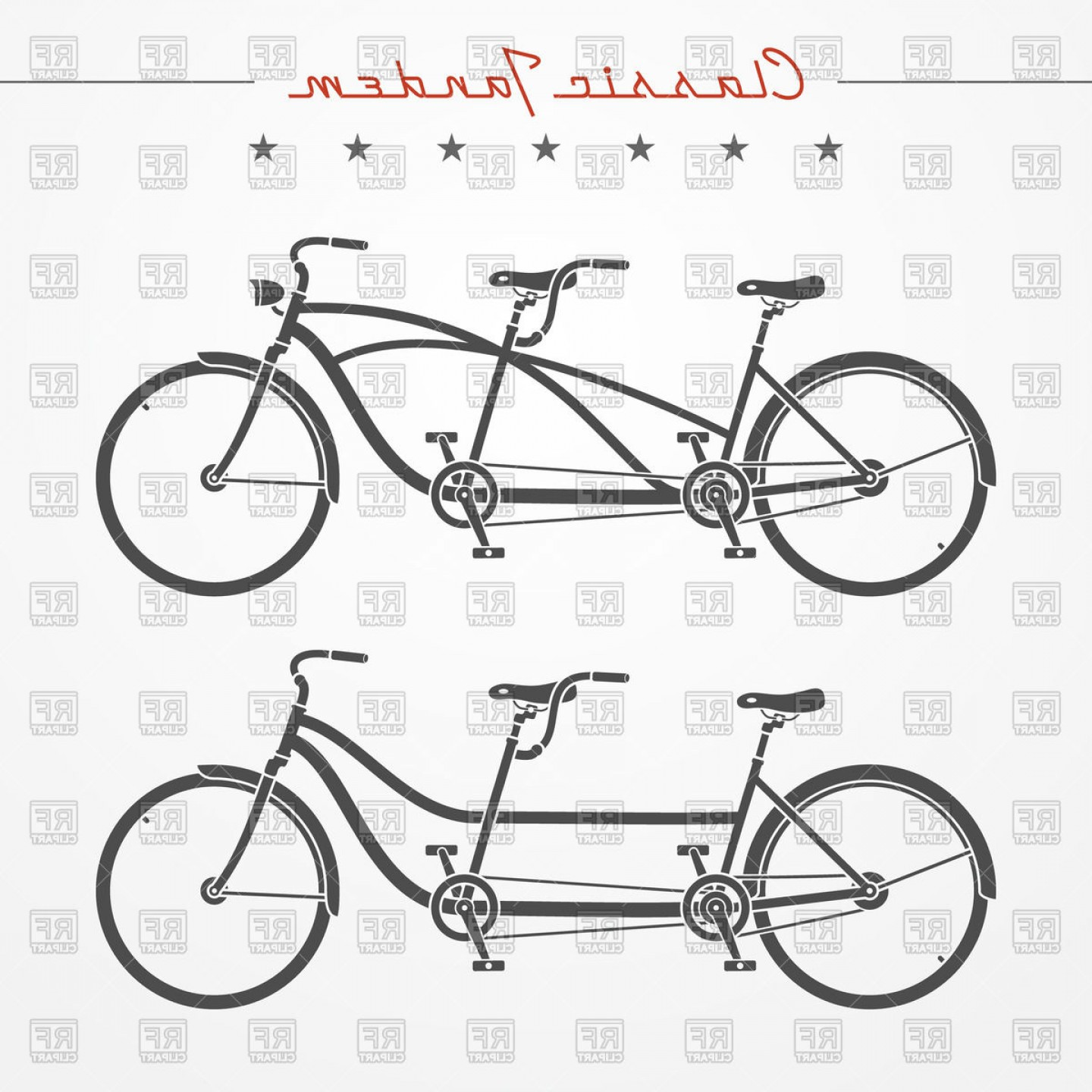 Bicycle Crank Vector Of Artwork: Lassic Tandem Bicycles Vector Clipart