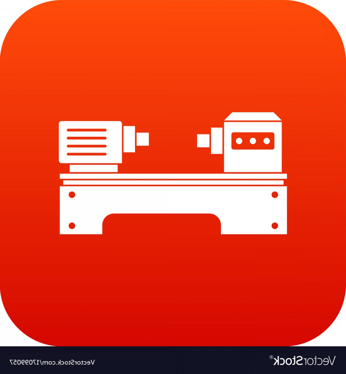 Hand Lathe Vector: Lathe Machine Icon Digital Red Vector