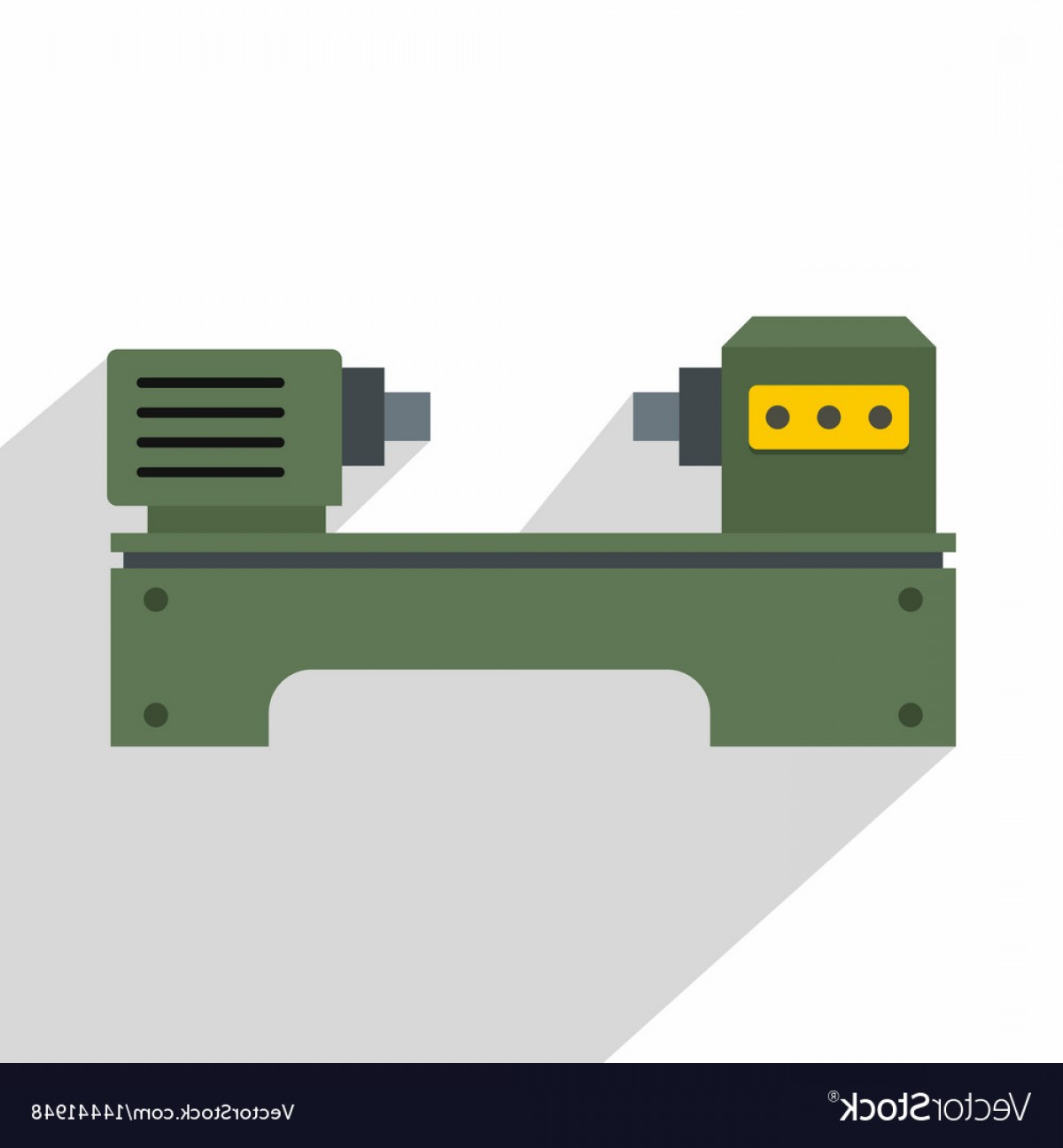 Hand Lathe Vector: Lathe Machine Icon Flat Style Vector
