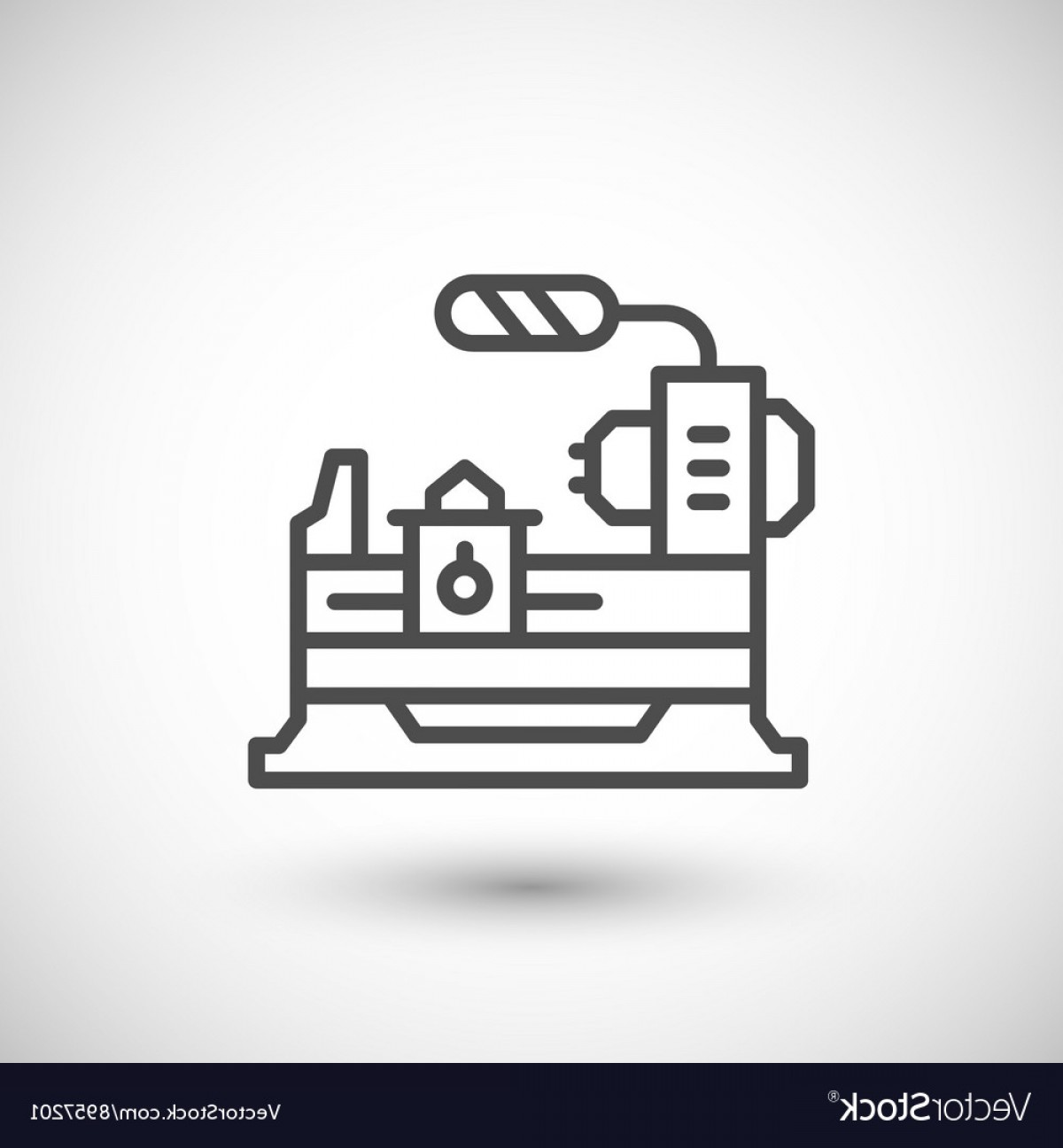 Hand Lathe Vector: Lathe Machine Line Icon Vector
