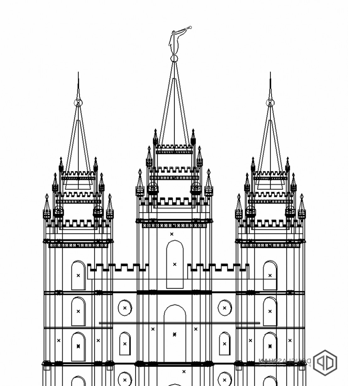 Salt Lake City Temple Vector: Latter Day Saint Temple Flat Icon Design