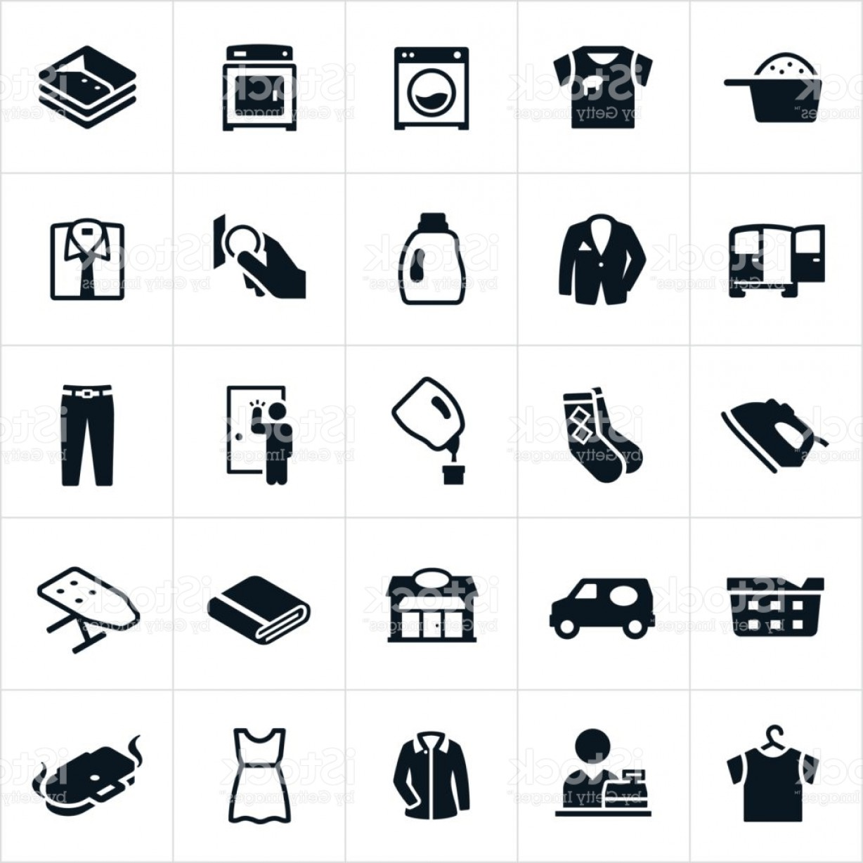 Dry Cleaning Vector: Laundromat And Dry Cleaning Icons Gm