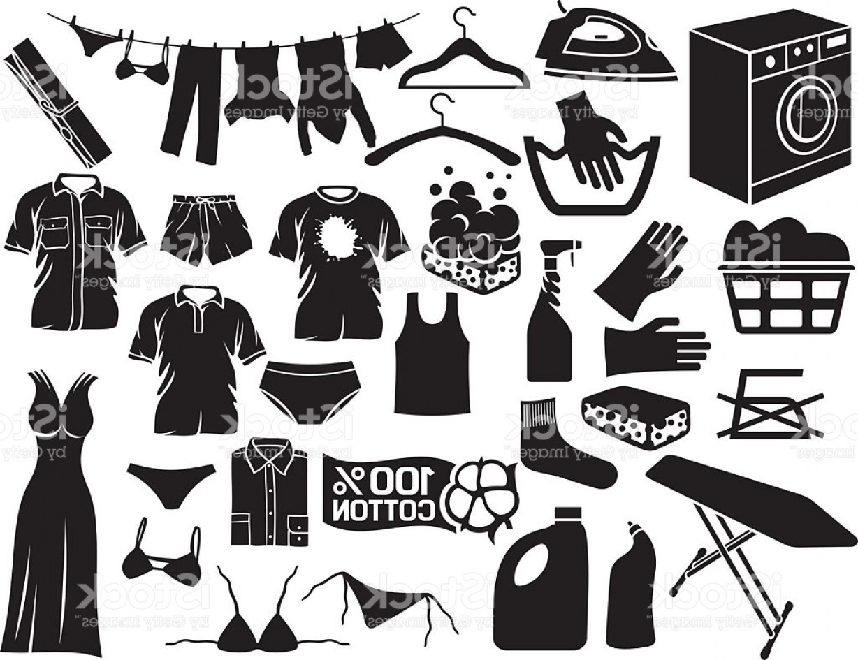 Clothes For Washing Vector: Laundry And Cleaning Icons Gm