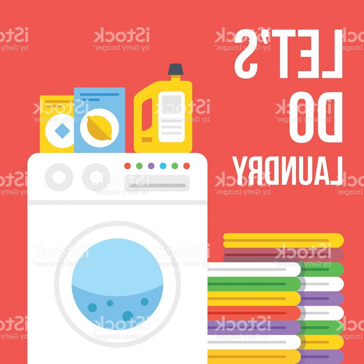 Clothes For Washing Vector: Laundry Flat Illustration Washing Machine Clothes Laundry Detergent Icons Set Gm
