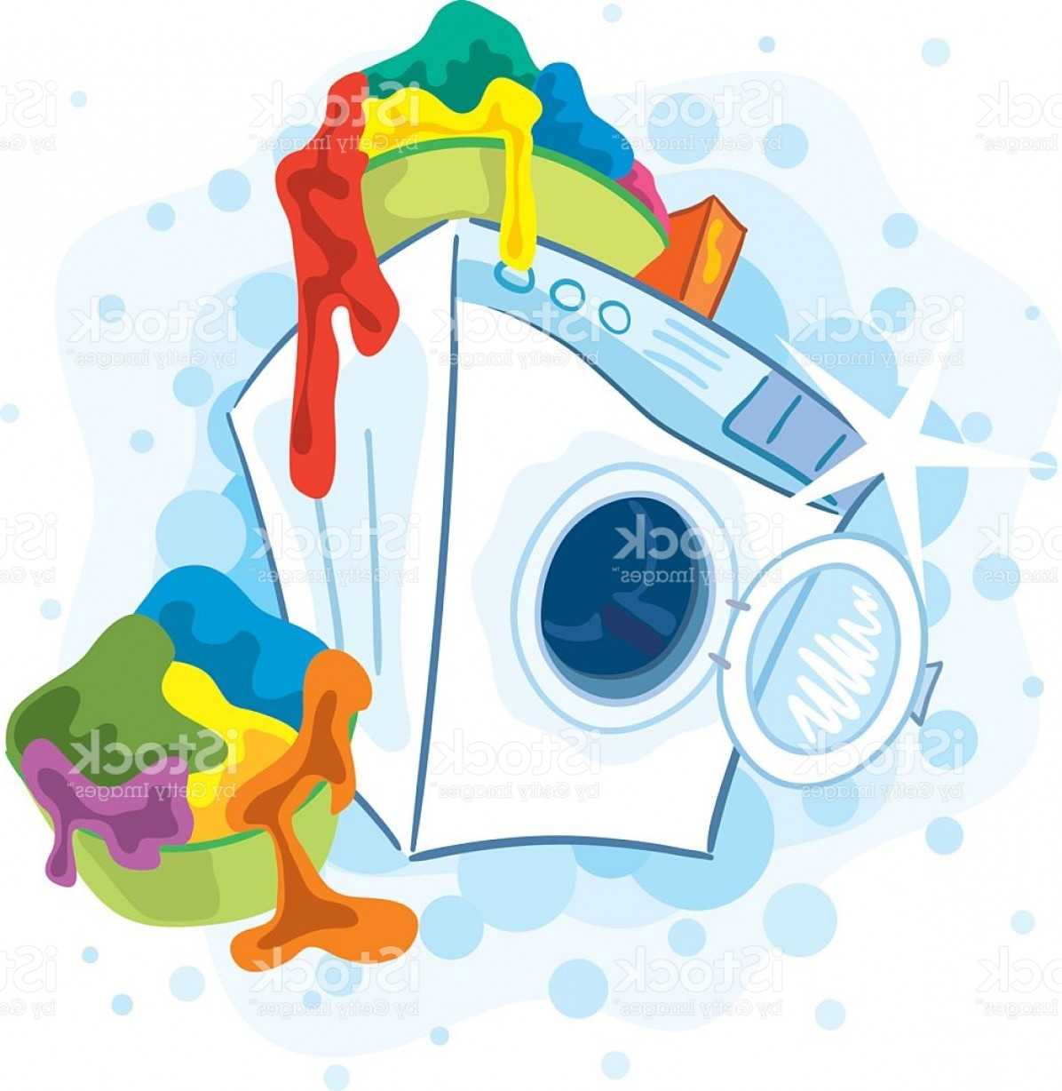 Clothes For Washing Vector: Laundry Piling Atop A Washing Machine On Washing Day Gm