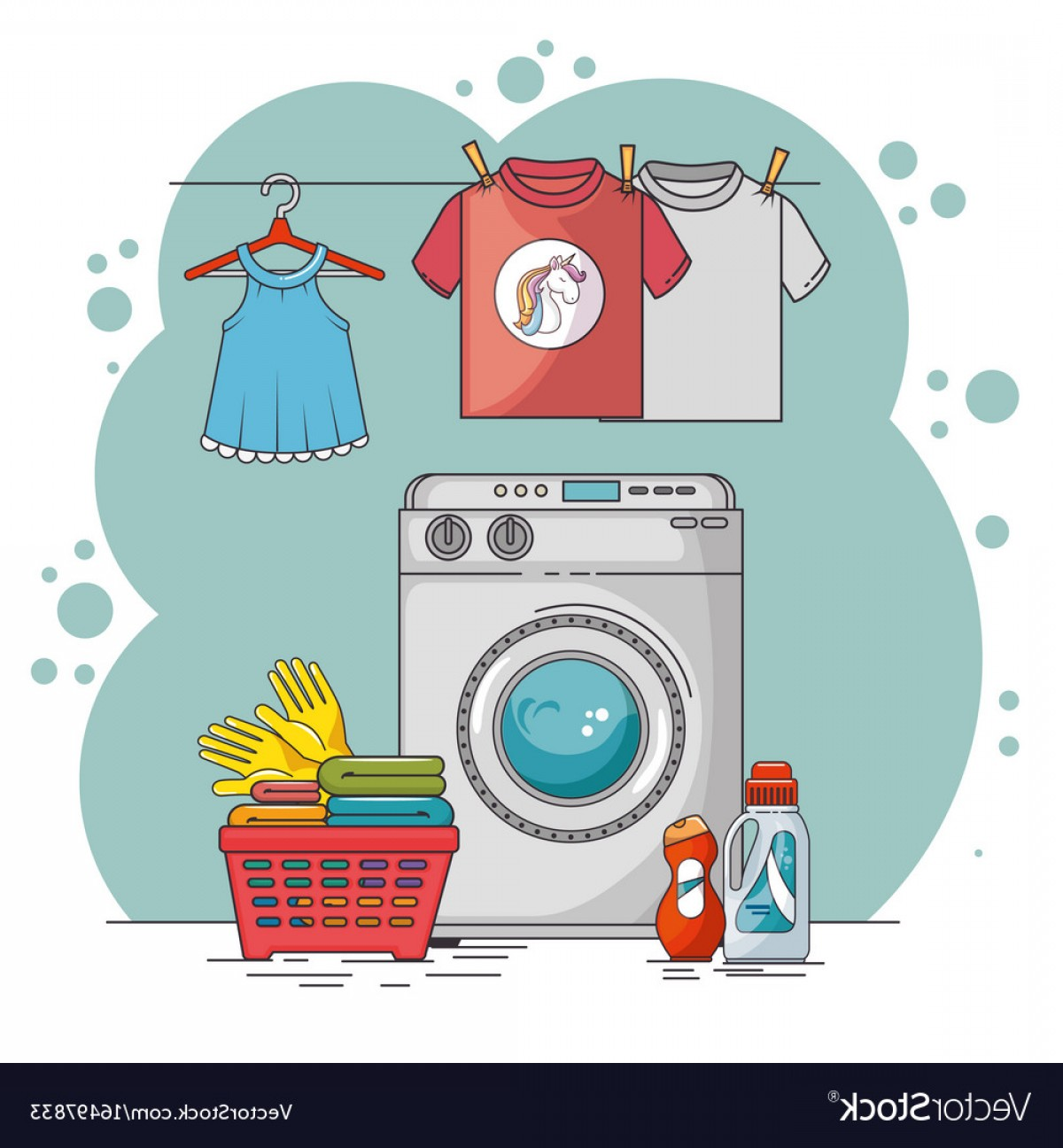 Clothes For Washing Vector: Laundry Room With Washing Machine And Clothes Vector